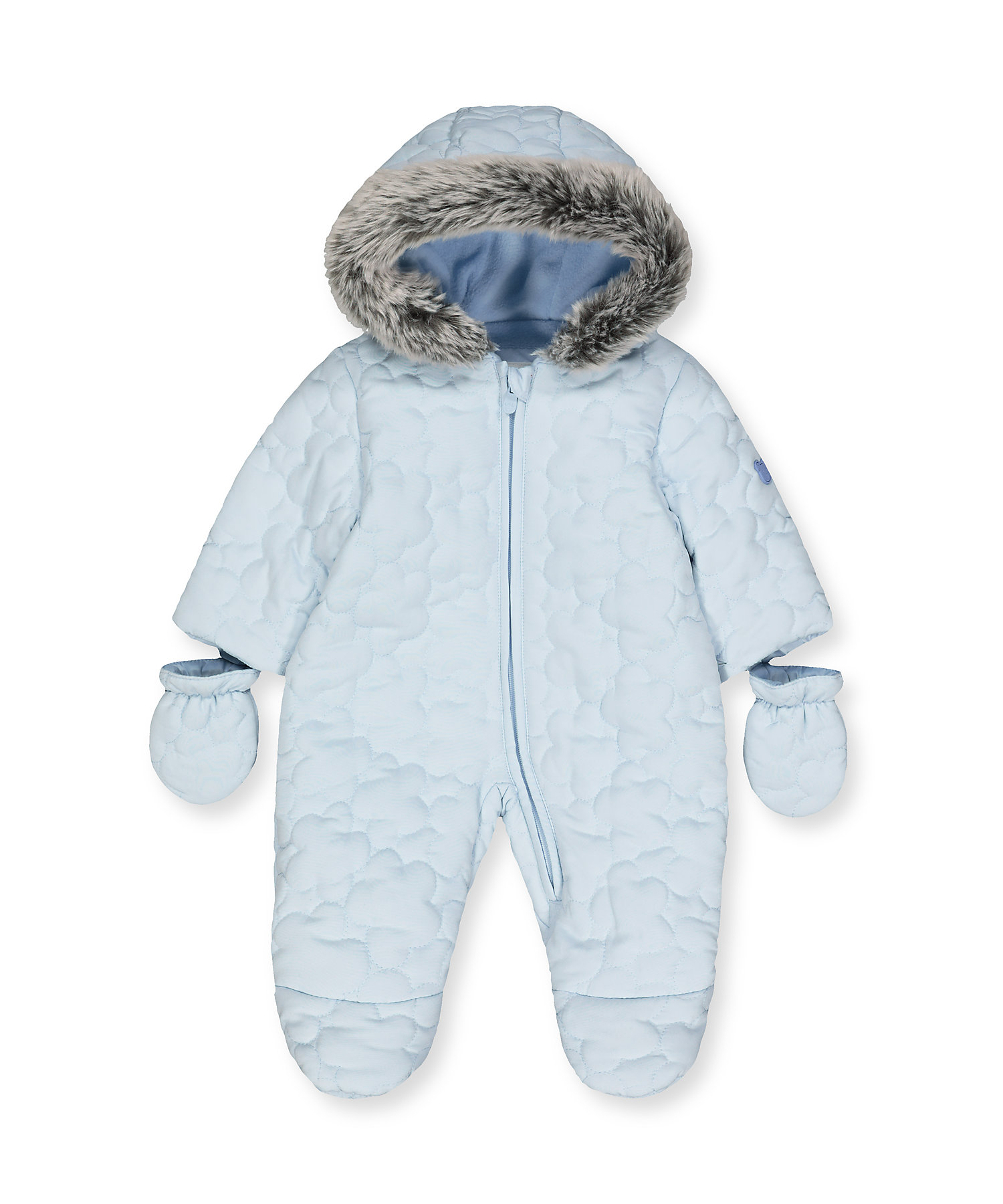 Mothercare | Boys Full Sleeves Quilted Snowsuit Hooded - Blue