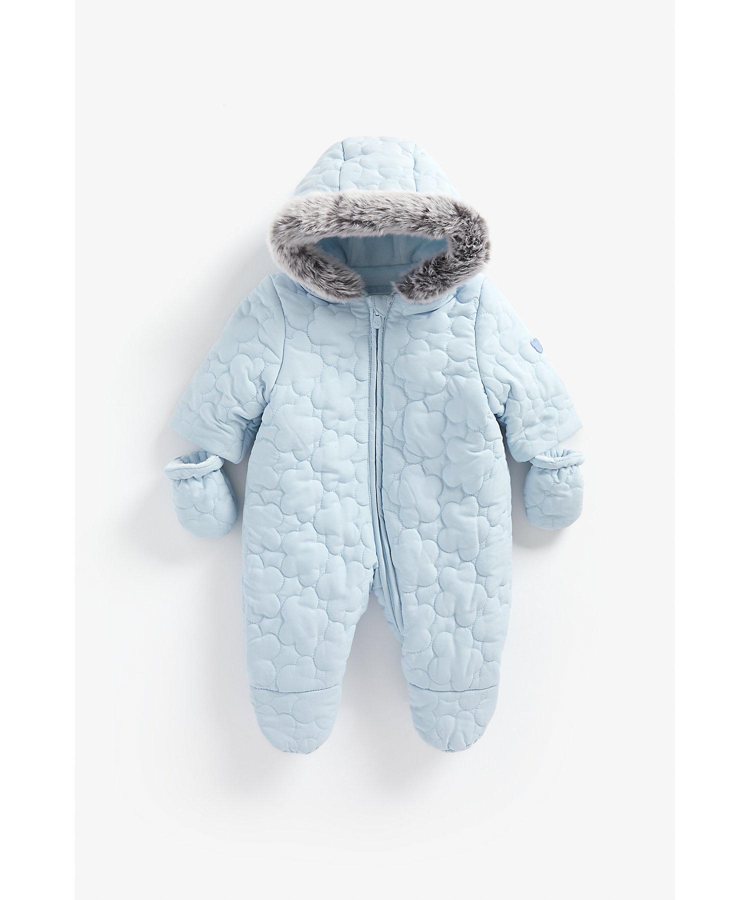 Mothercare | Boys Full Sleeves Velour Lined Snowsuit Hooded - Blue