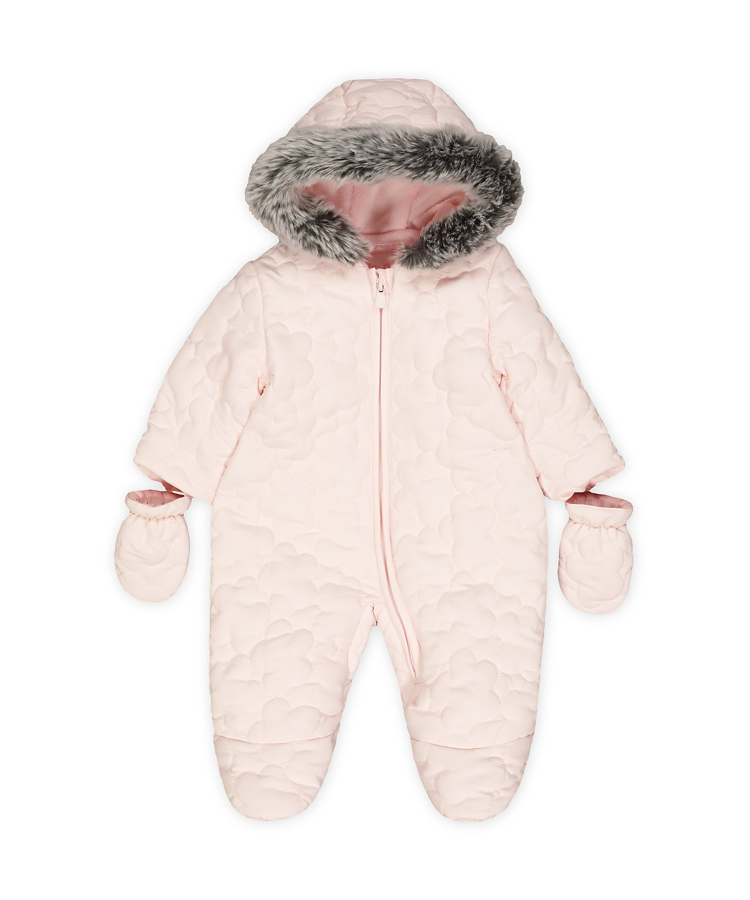 Mothercare   Girls Full Sleeves Quilted Snowsuit Hooded - Pink