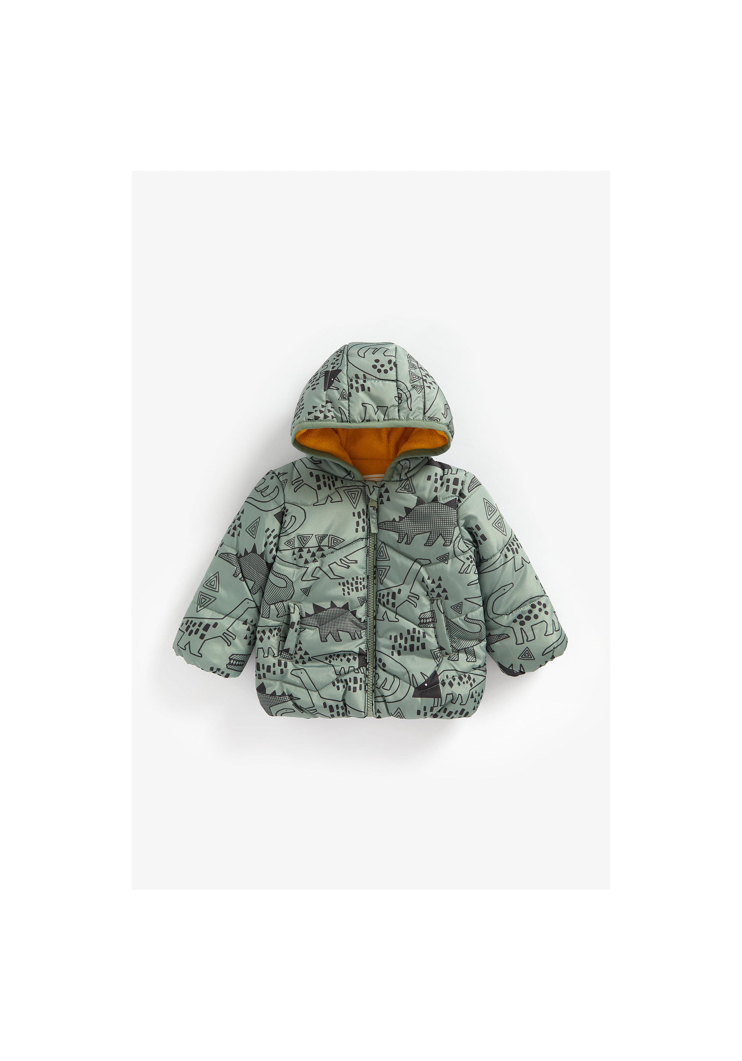 Mothercare | Boys Full Sleeves Fleece Lined Jacket Dino Print - Green