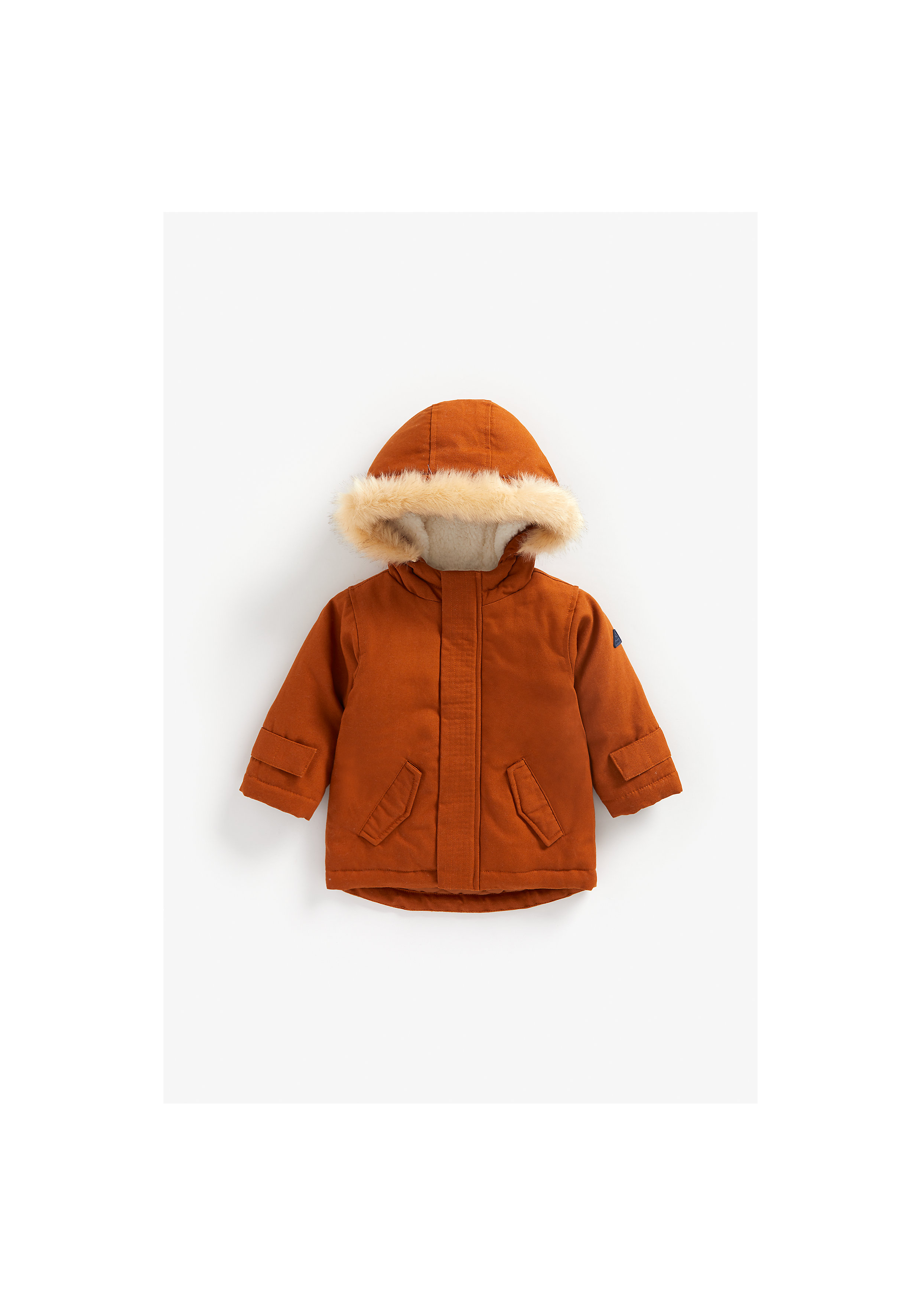 Mothercare | Boys Full Sleeves Fleece Lined Jacket Hooded - Brown