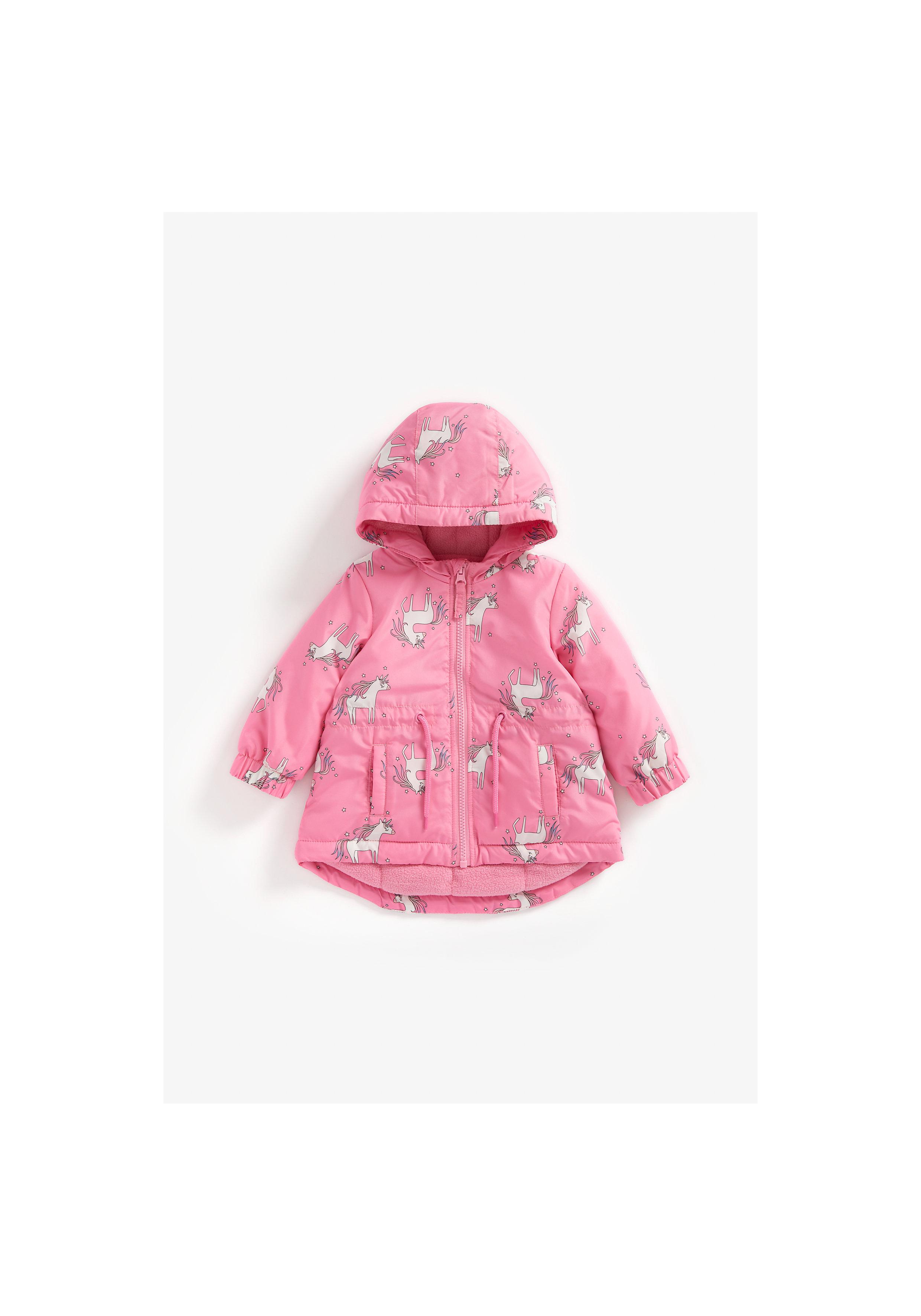 Mothercare | Girls Full Sleeves Fleece Lined Jacket Unicorn Print - Pink