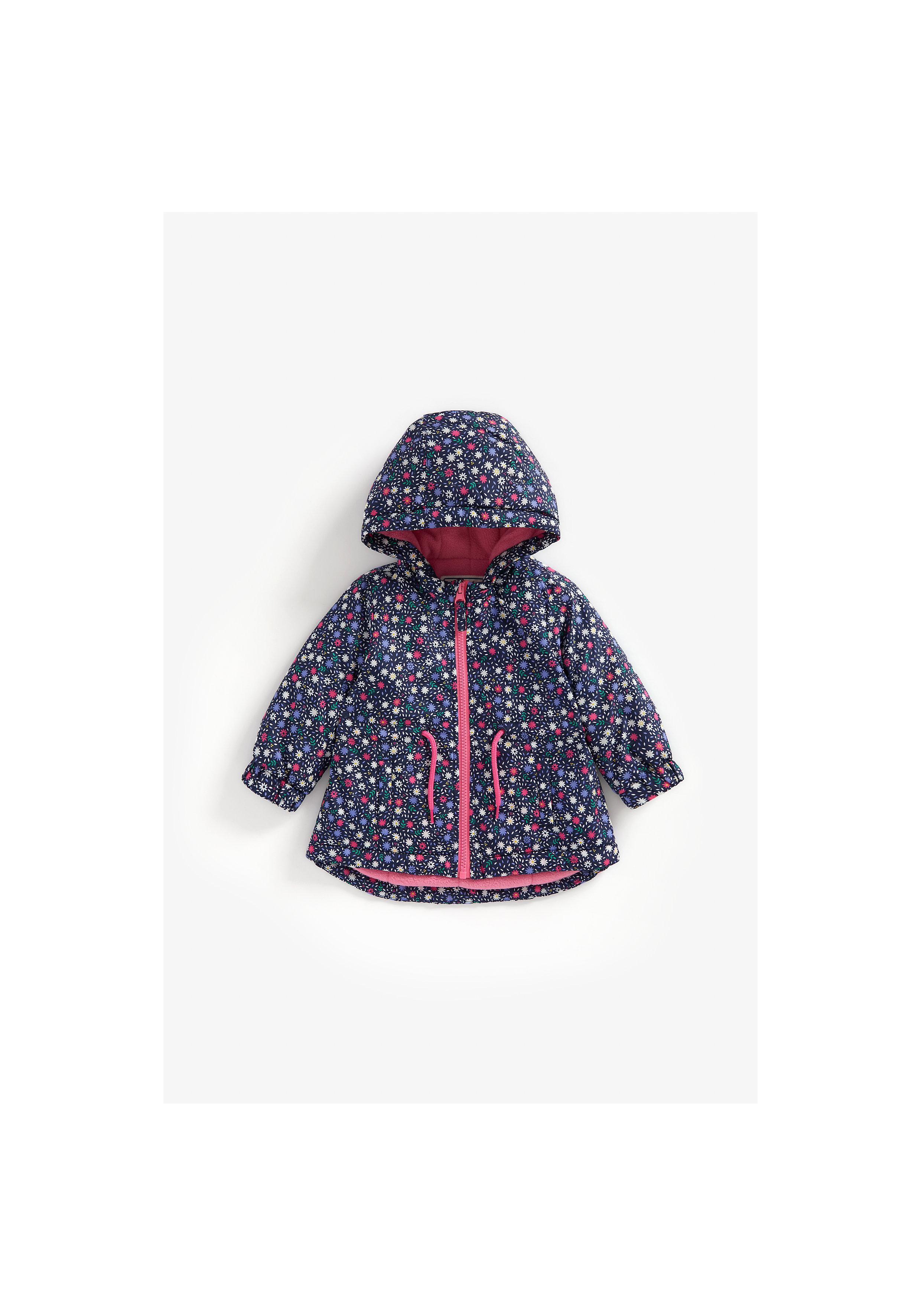 Mothercare | Girls Full Sleeves Fleece Lined Jacket Flower Print - Navy