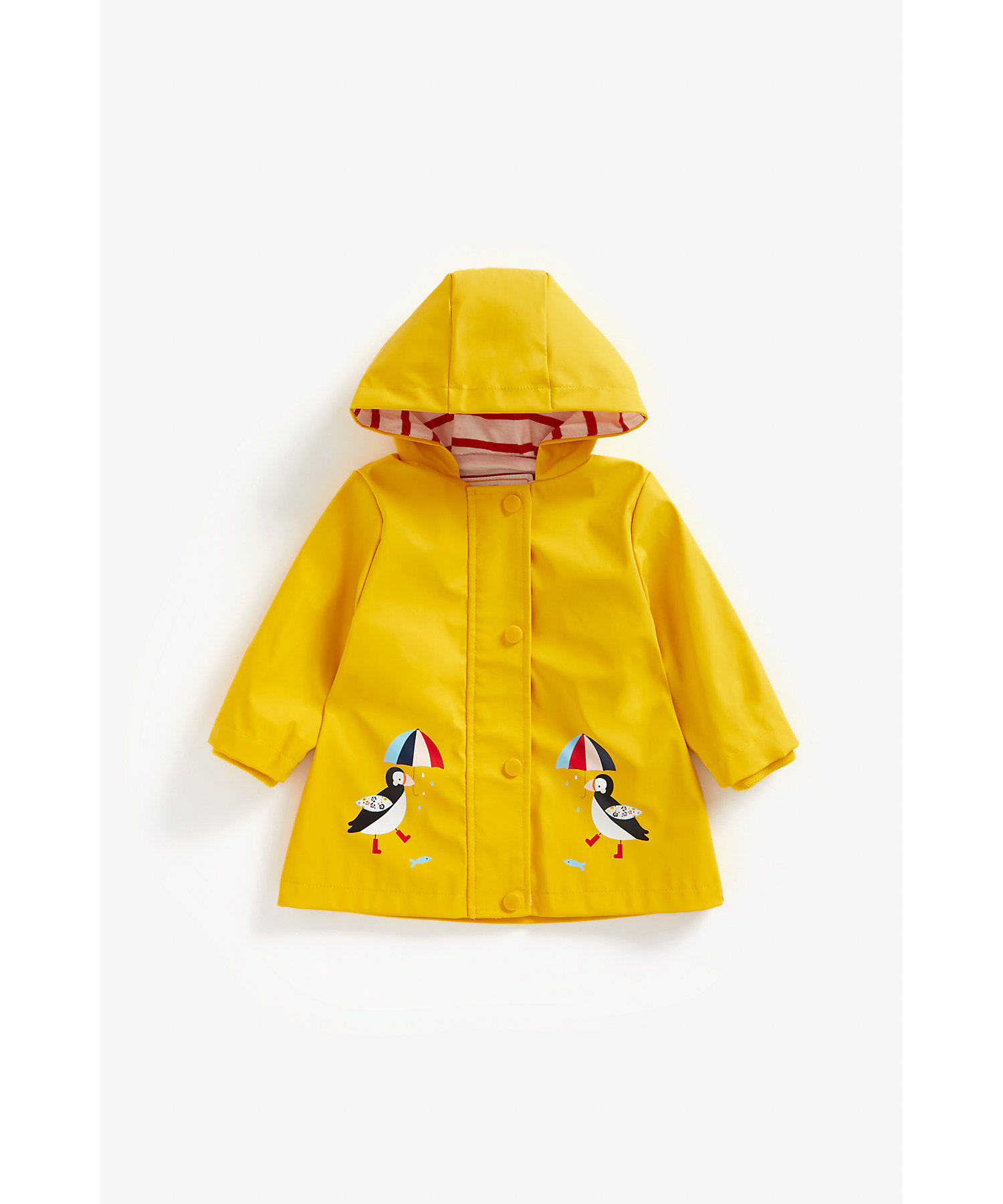 Mothercare | Girls Full Sleeves Rubberized Coat Penguin Print - Yellow