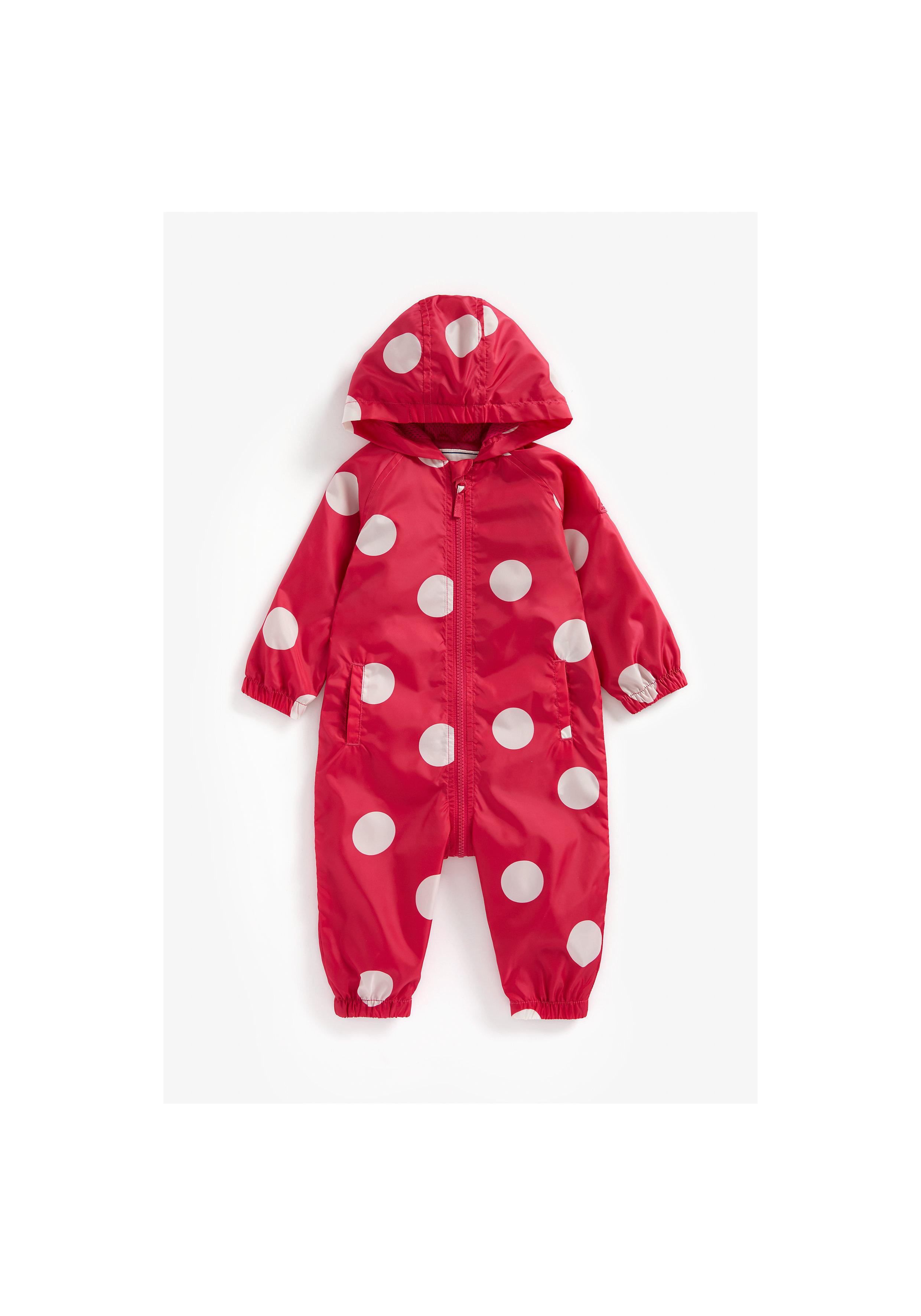 Mothercare | Girls Full Sleeves Hooded Puddlesuit Polka Dot Print - Red