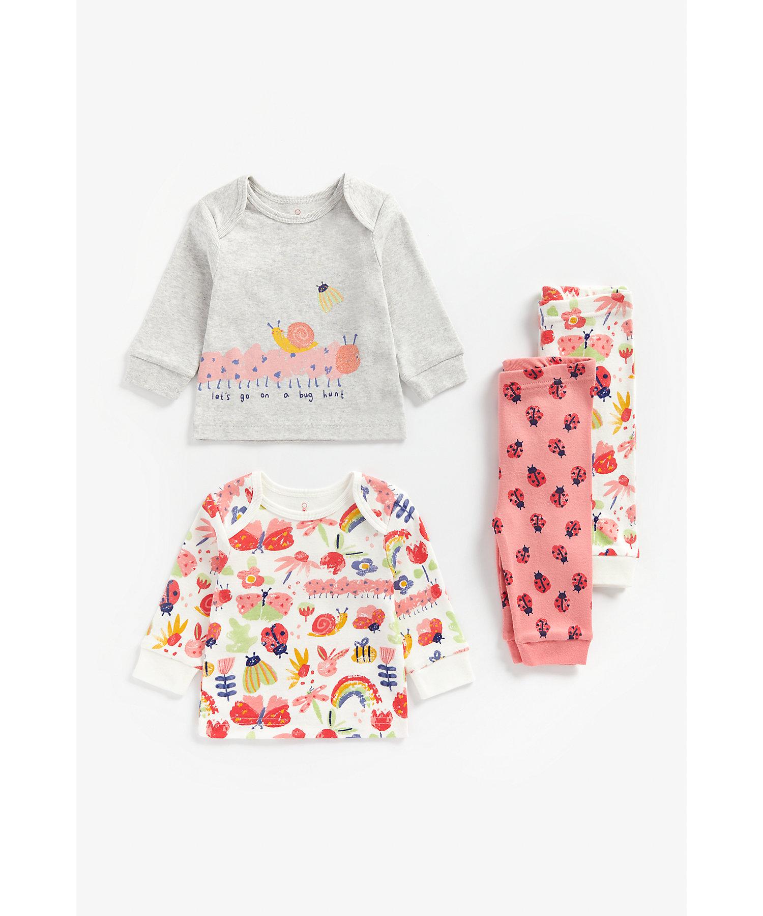 Mothercare | Girls Full Sleeves Pyjama Set Bug Print - Pack Of 2 - Multicolor