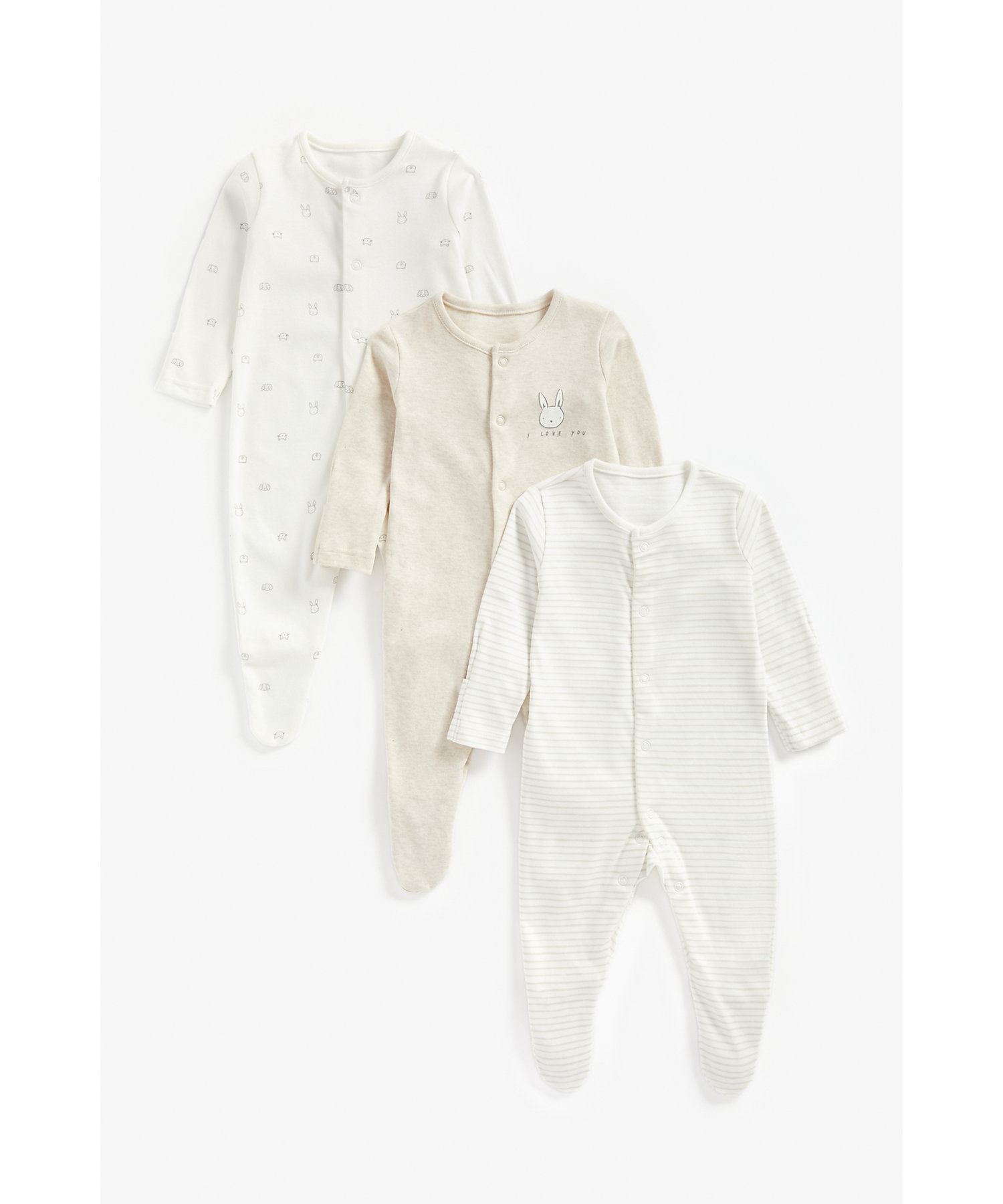 Mothercare   Unisex Full Sleeves Sleepsuit Bunny Print - Pack Of 3 - Beige