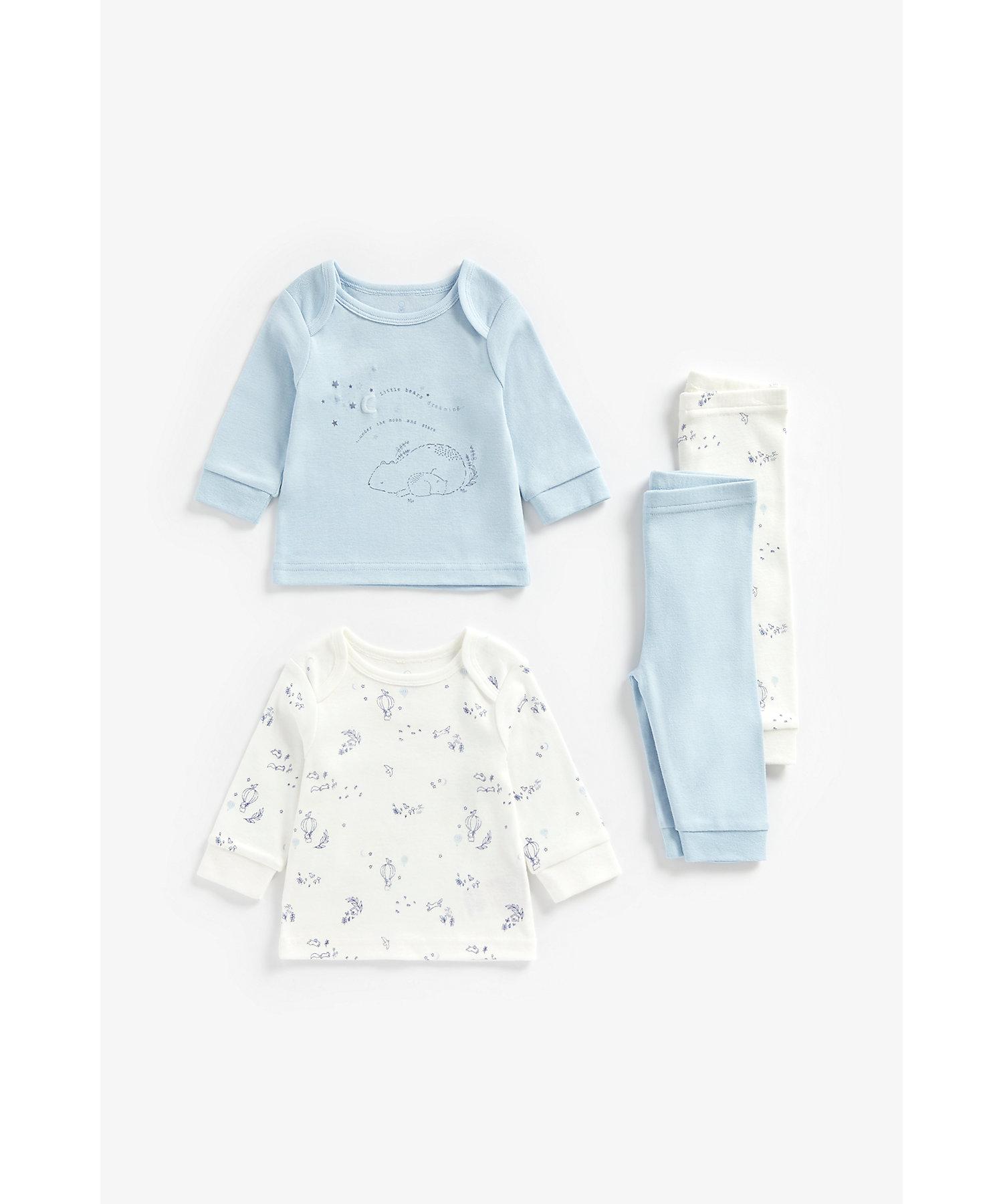 Mothercare   Boys Full Sleeves Pyjama Set Bear Print - Pack Of 2 - Blue
