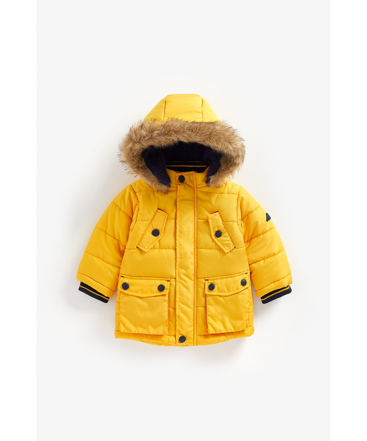 Mothercare | Boys Full Sleeves Padded Jacket Hooded - Yellow
