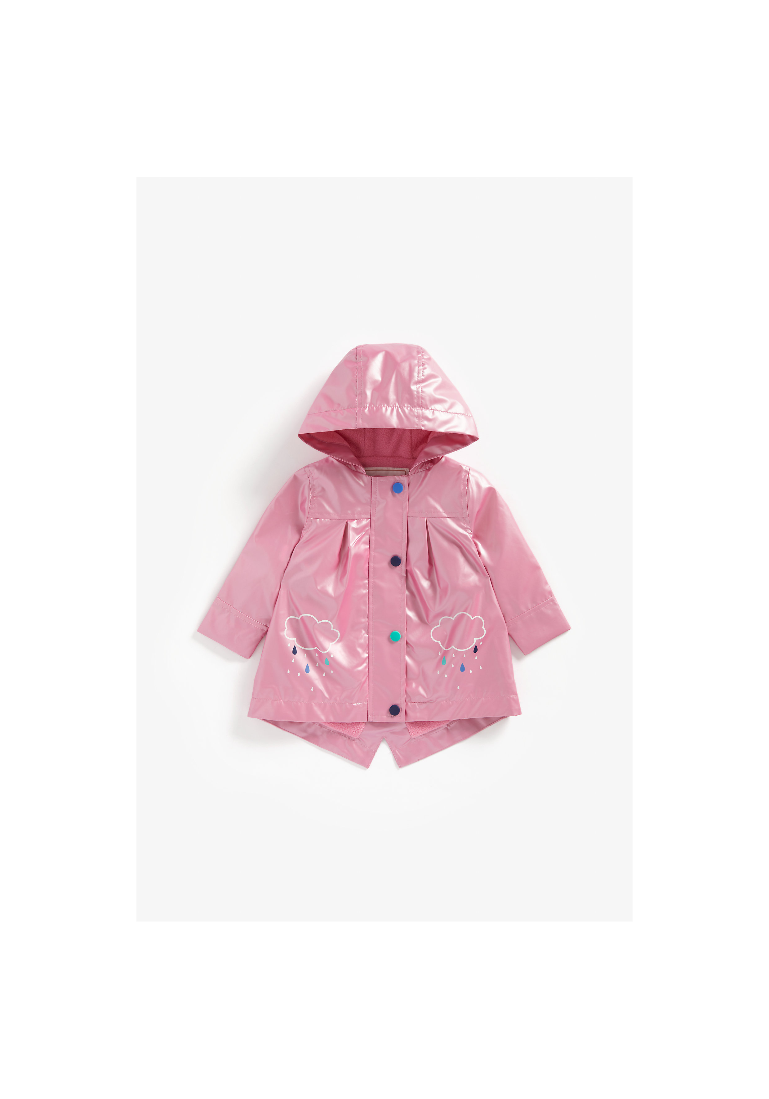 Mothercare | Girls Full Sleeves Rubberized Coat Jersey Lined - Pink