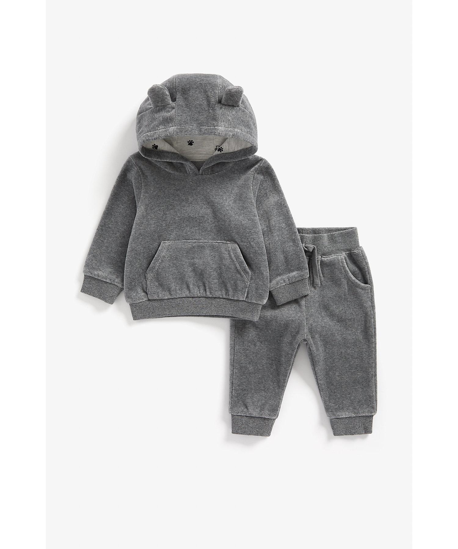 Mothercare | Boys Full Sleeves Velour Jog Set 3D Ear Details - Grey