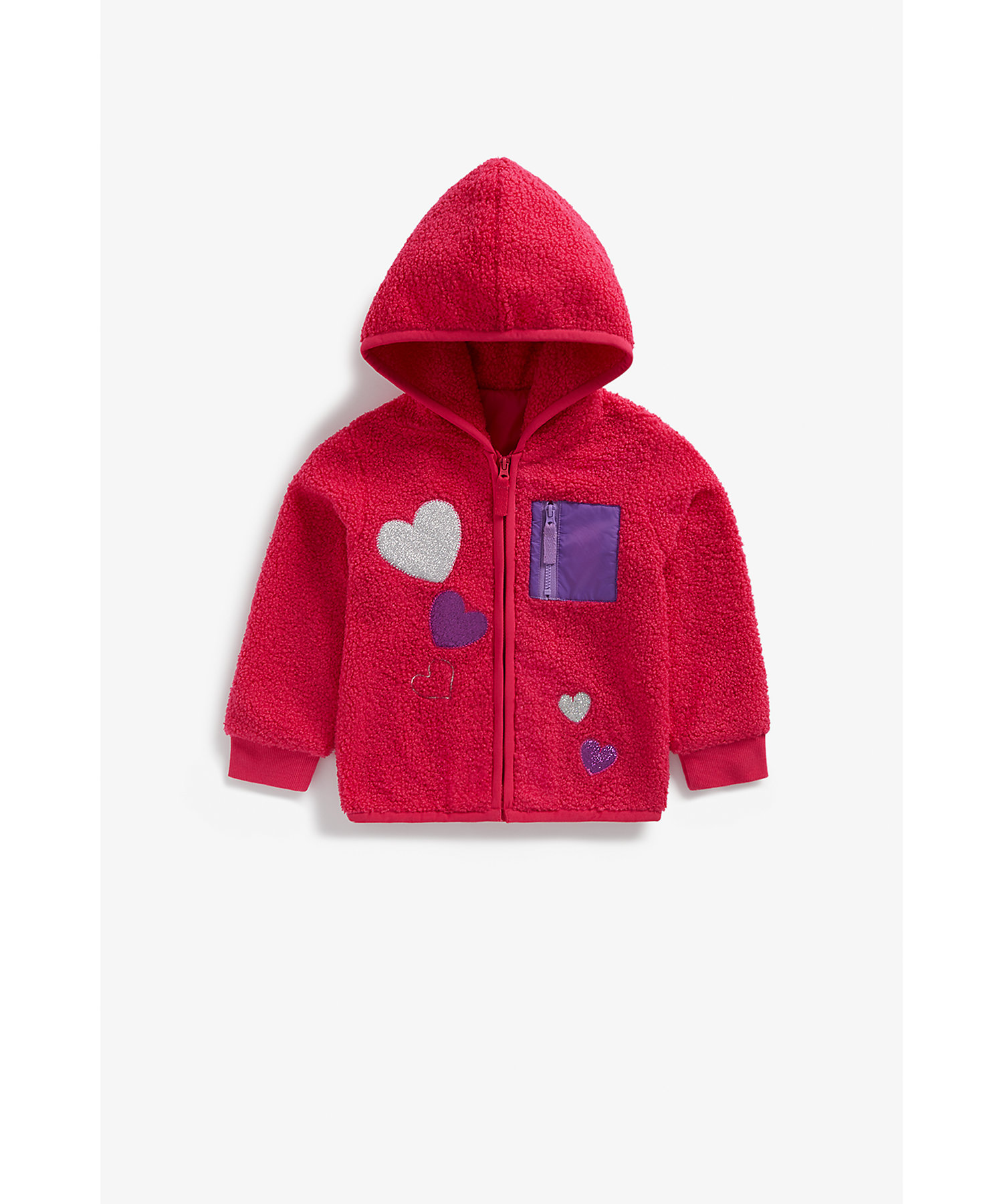 Mothercare | Girls Full Sleeves Zip Opening Hoody Glittery Heart Patchwork - Red