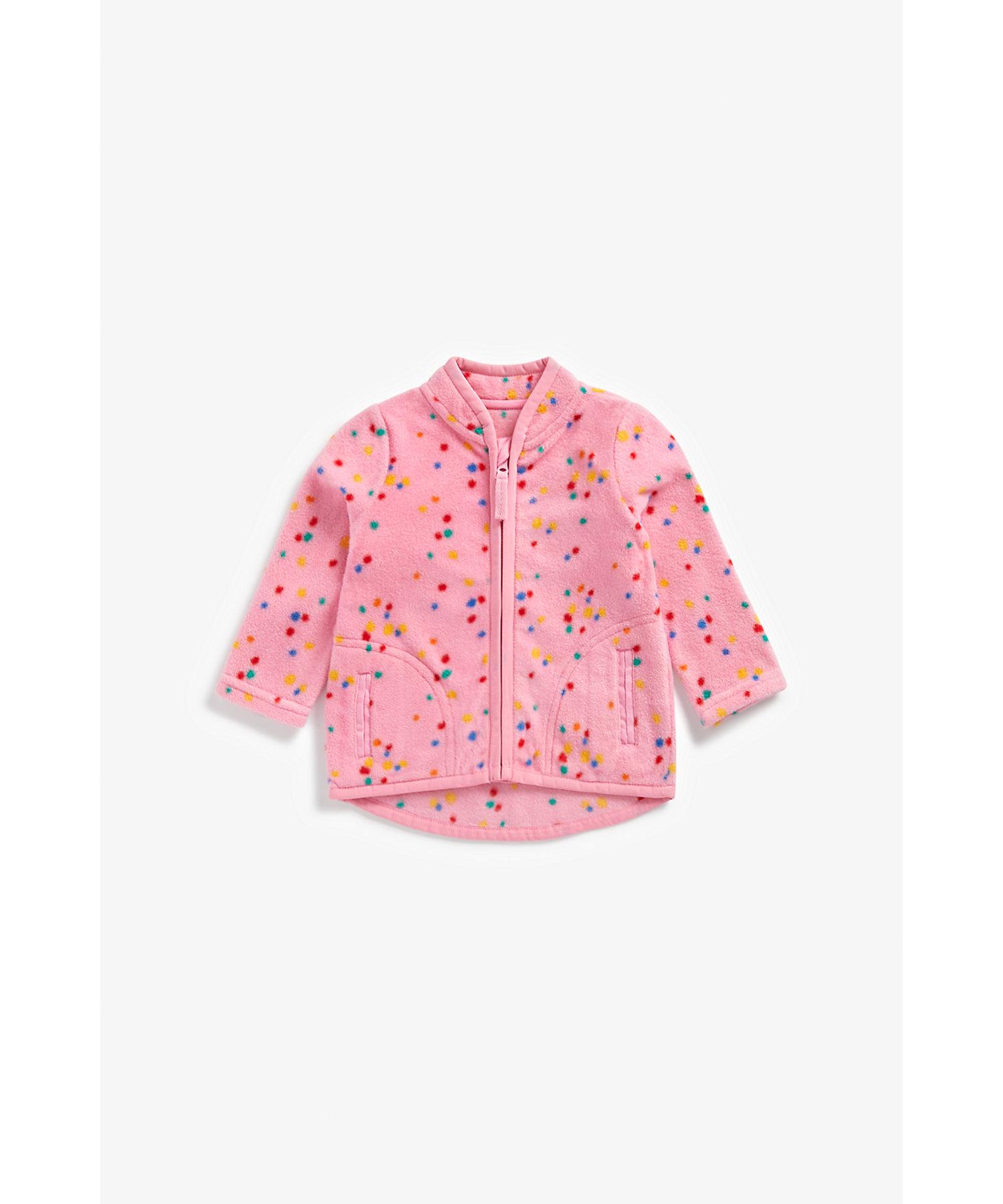 Mothercare | Girls Full Sleeves Fleece Jacket Spot Print - Pink