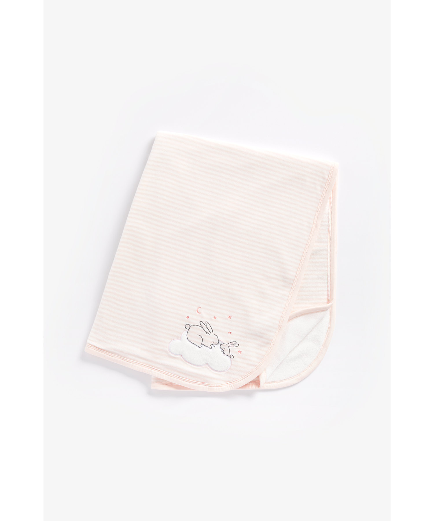 Mothercare | Girls Velour Fleece Lined Shawl Bunny Embroidery - Pink