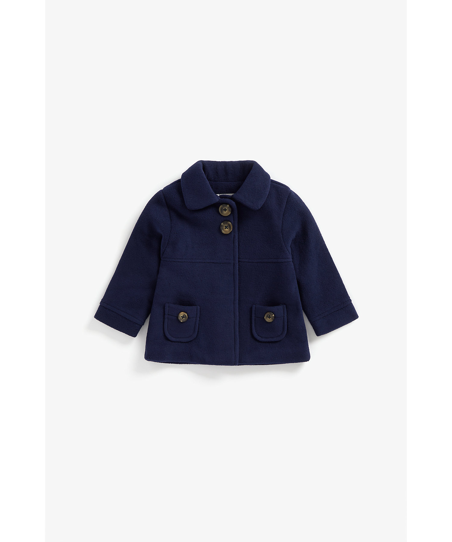Mothercare | Girls Full Sleeves Coat With Pocket Detail - Navy