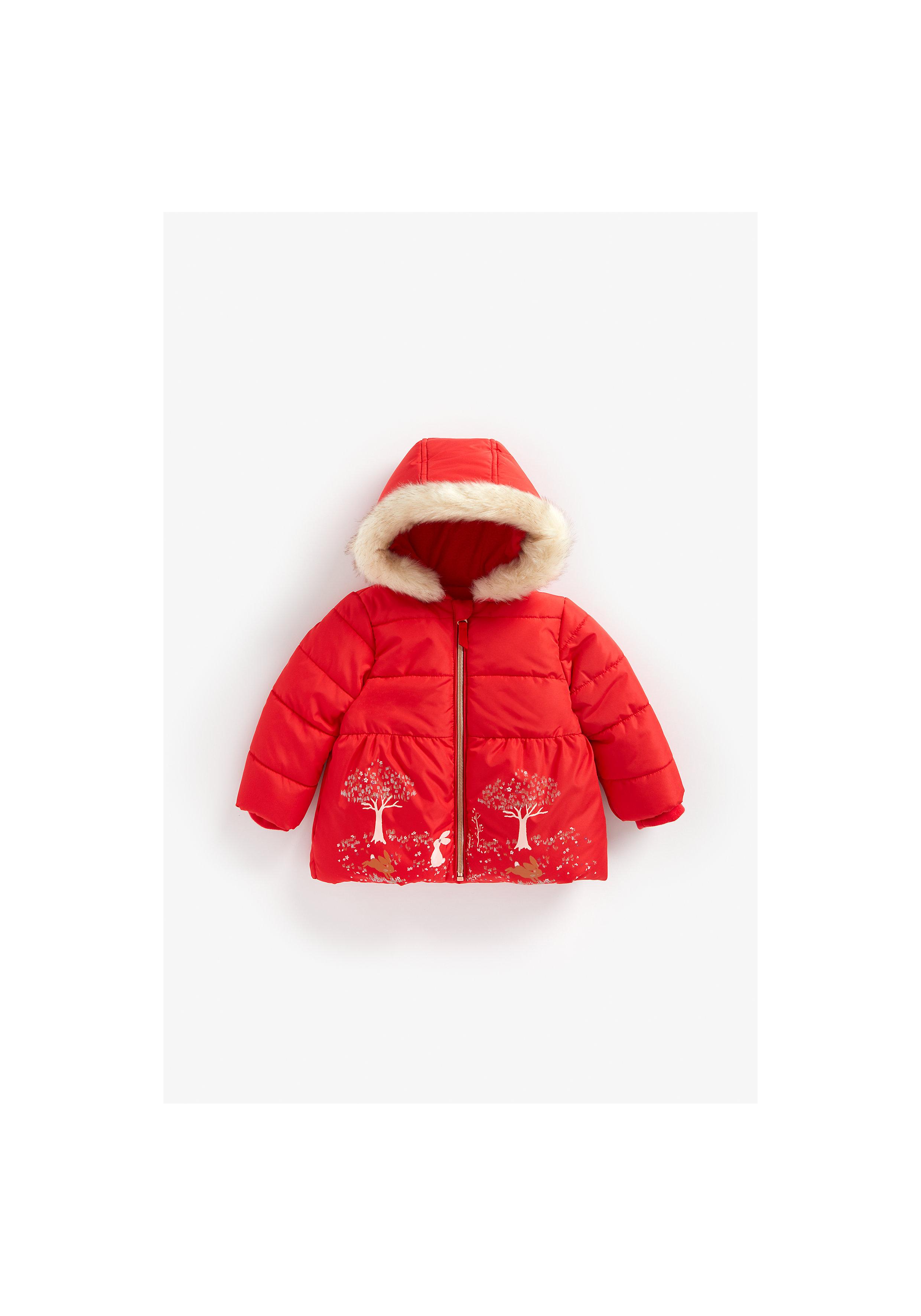 Mothercare | Girls Full Sleeves Jacket Border Print - Red