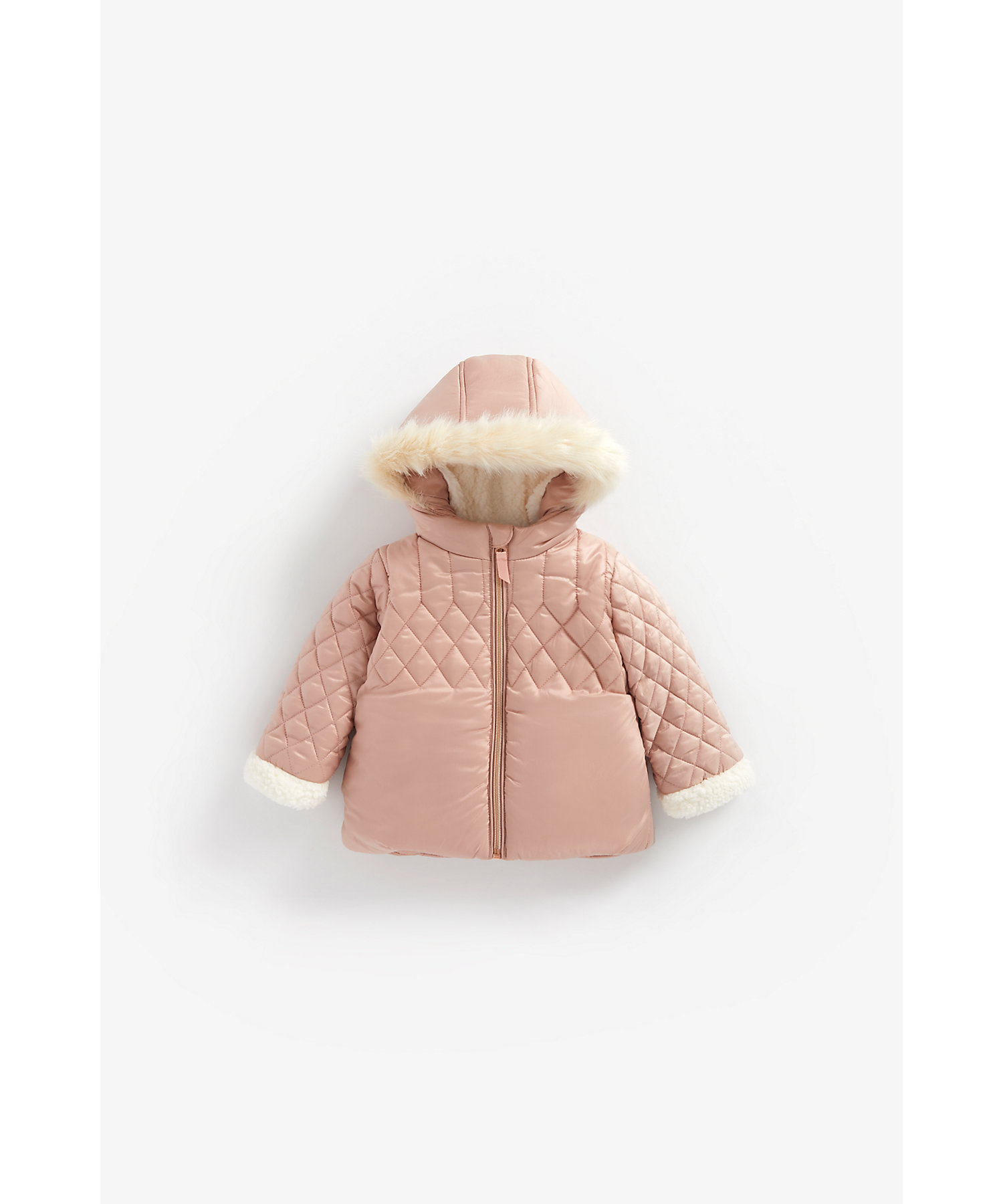 Mothercare | Girls Full Sleeves Quilted Jacket With Hood - Pink