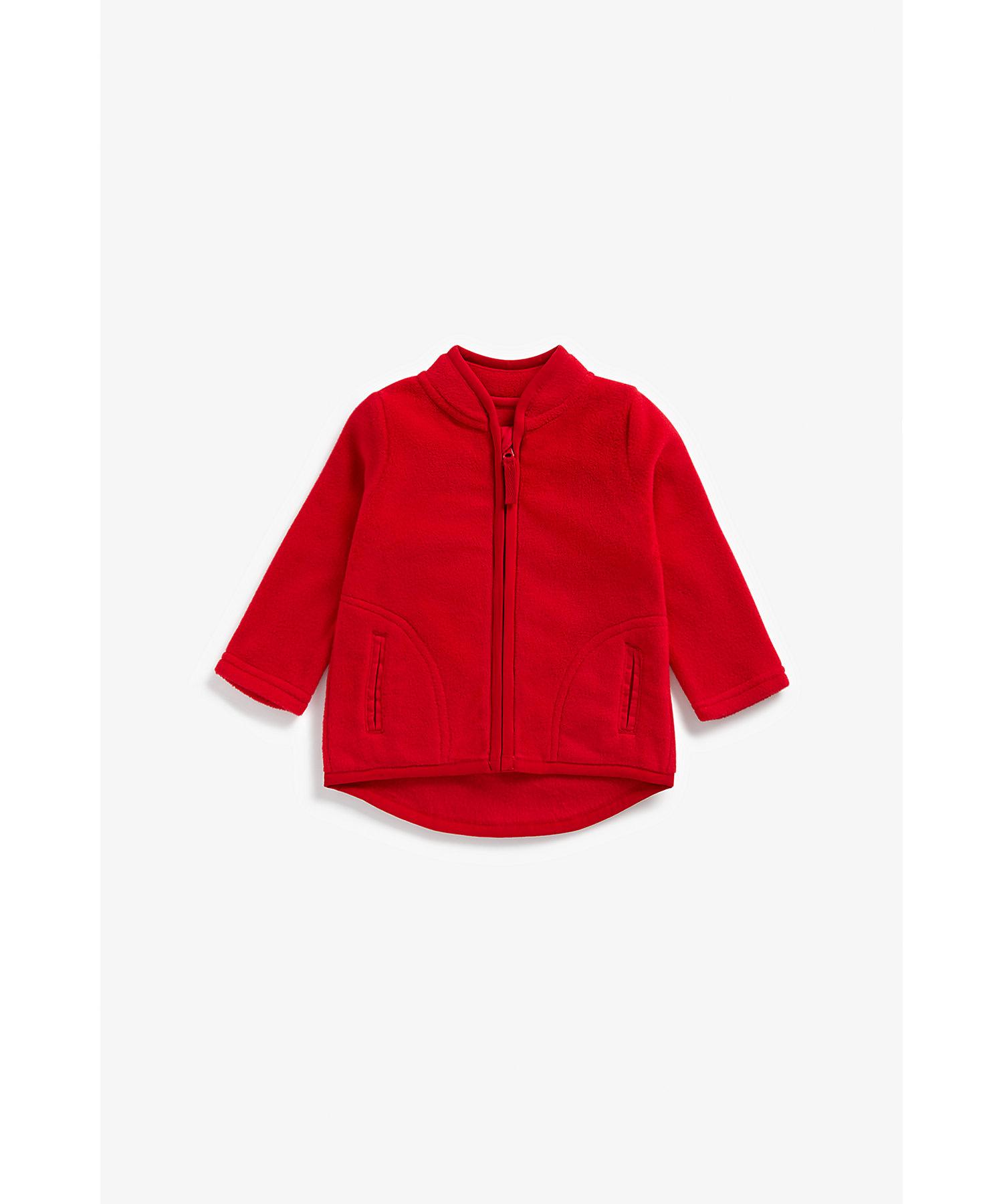 Mothercare | Girls Full Sleeves Fleece Jacket - Red