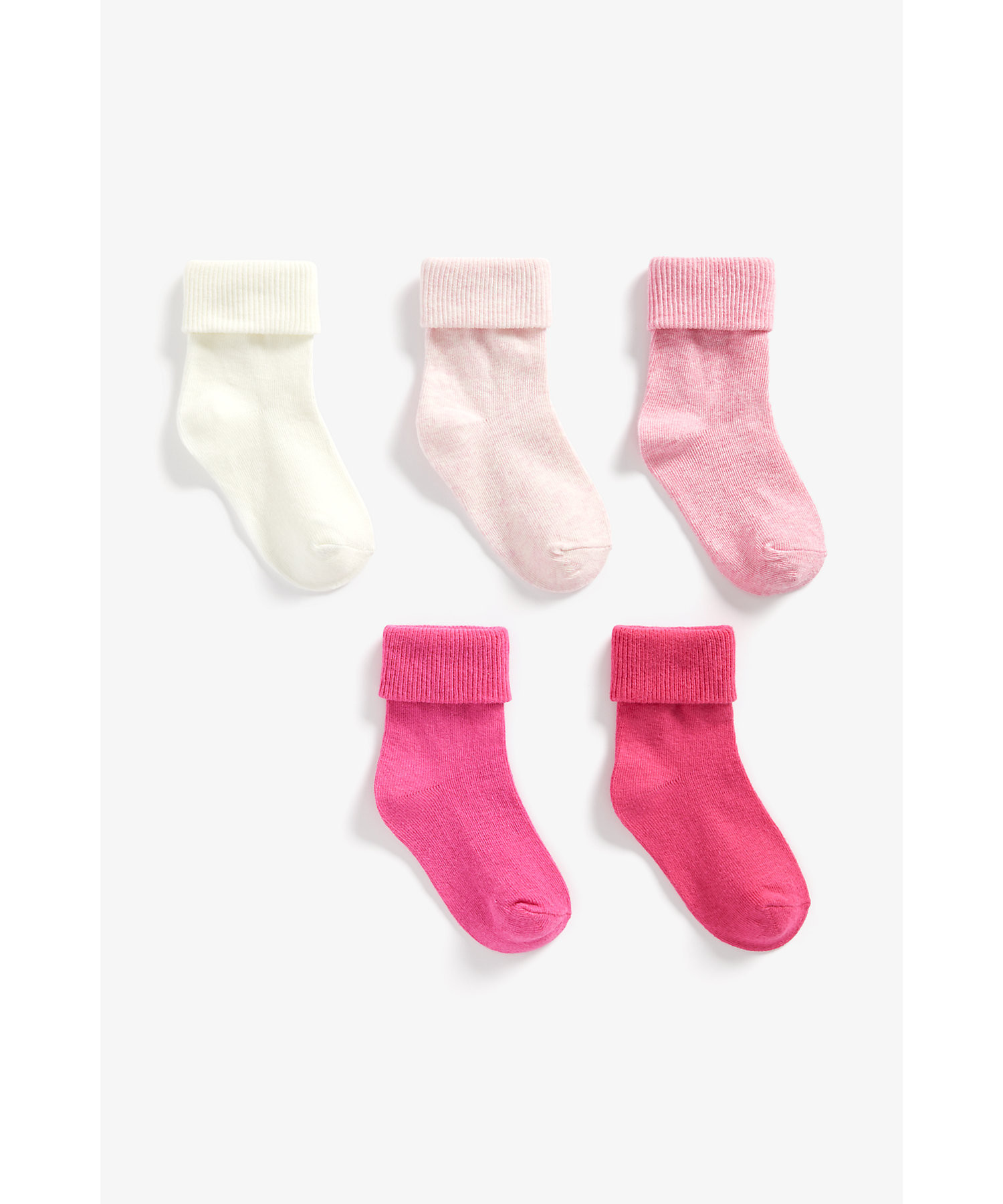 Mothercare | Girls Turn-Over-Top Socks - Pack Of 5 - Pink