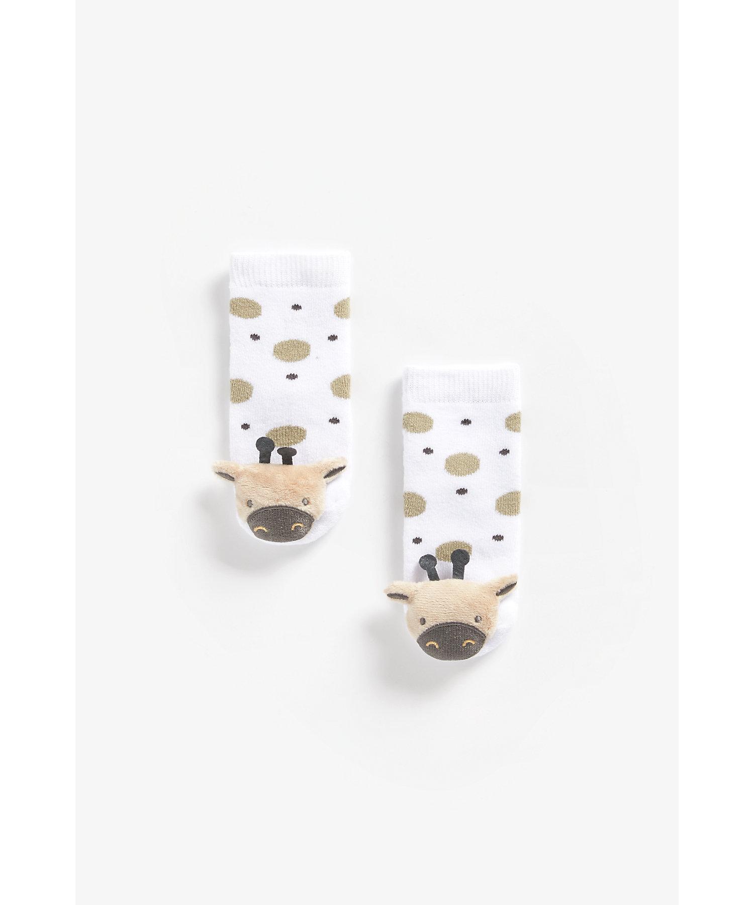 Mothercare   Boys Rattle Socks Giraffe Design - Multicolor