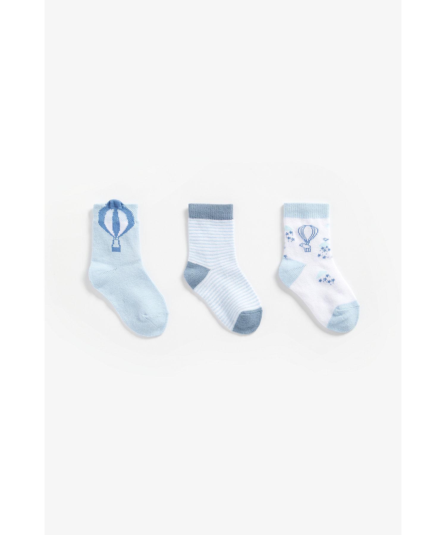 Mothercare   Boys Socks Hot Air Balloon Design - Pack Of 3 - Blue