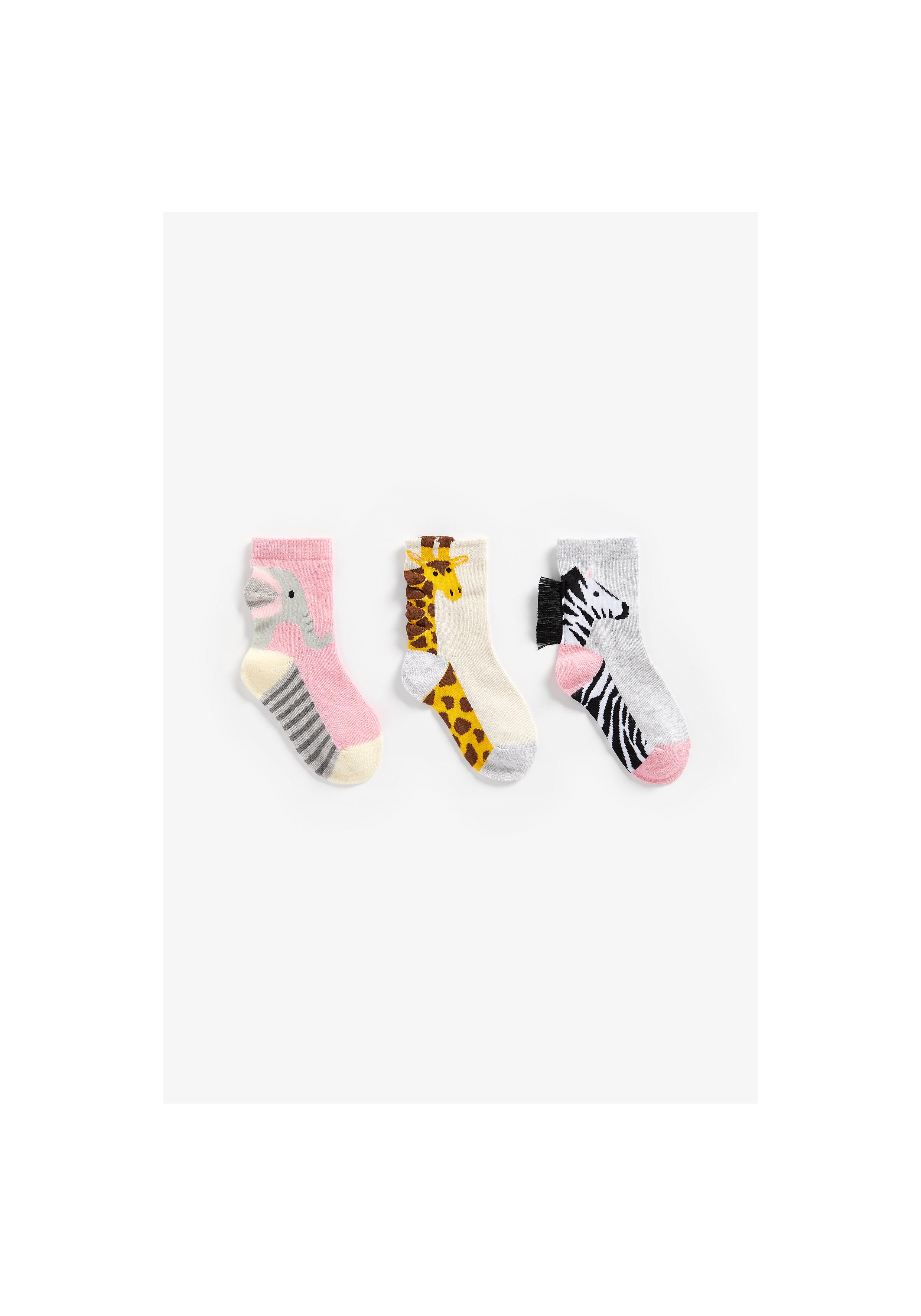Mothercare | Girls Socks Elephant, Zebra And Giraffe Design - Pack Of 3 - Multicolor