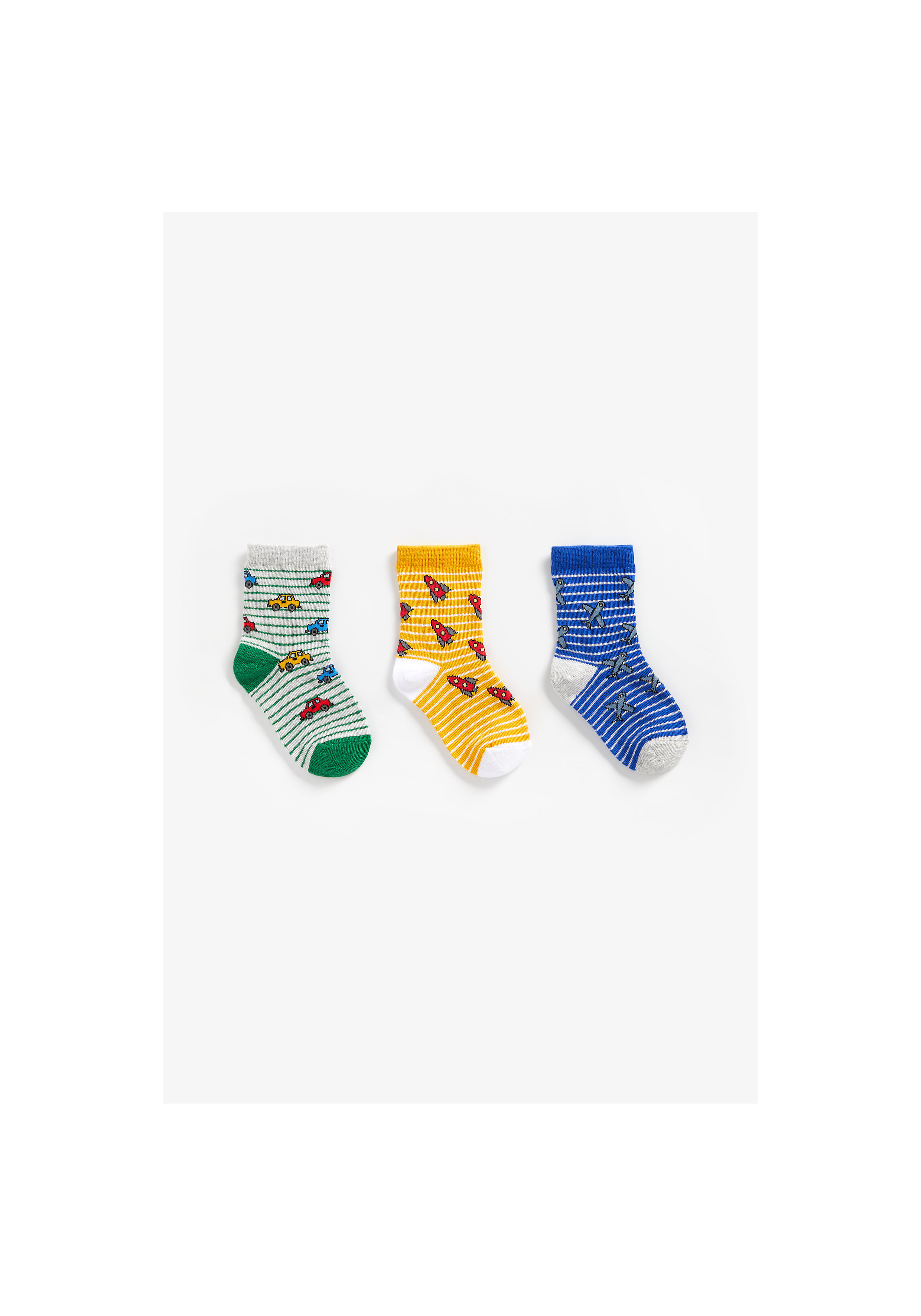 Mothercare   Boys Socks Striped And Car Design - Pack Of 3 - Multicolor