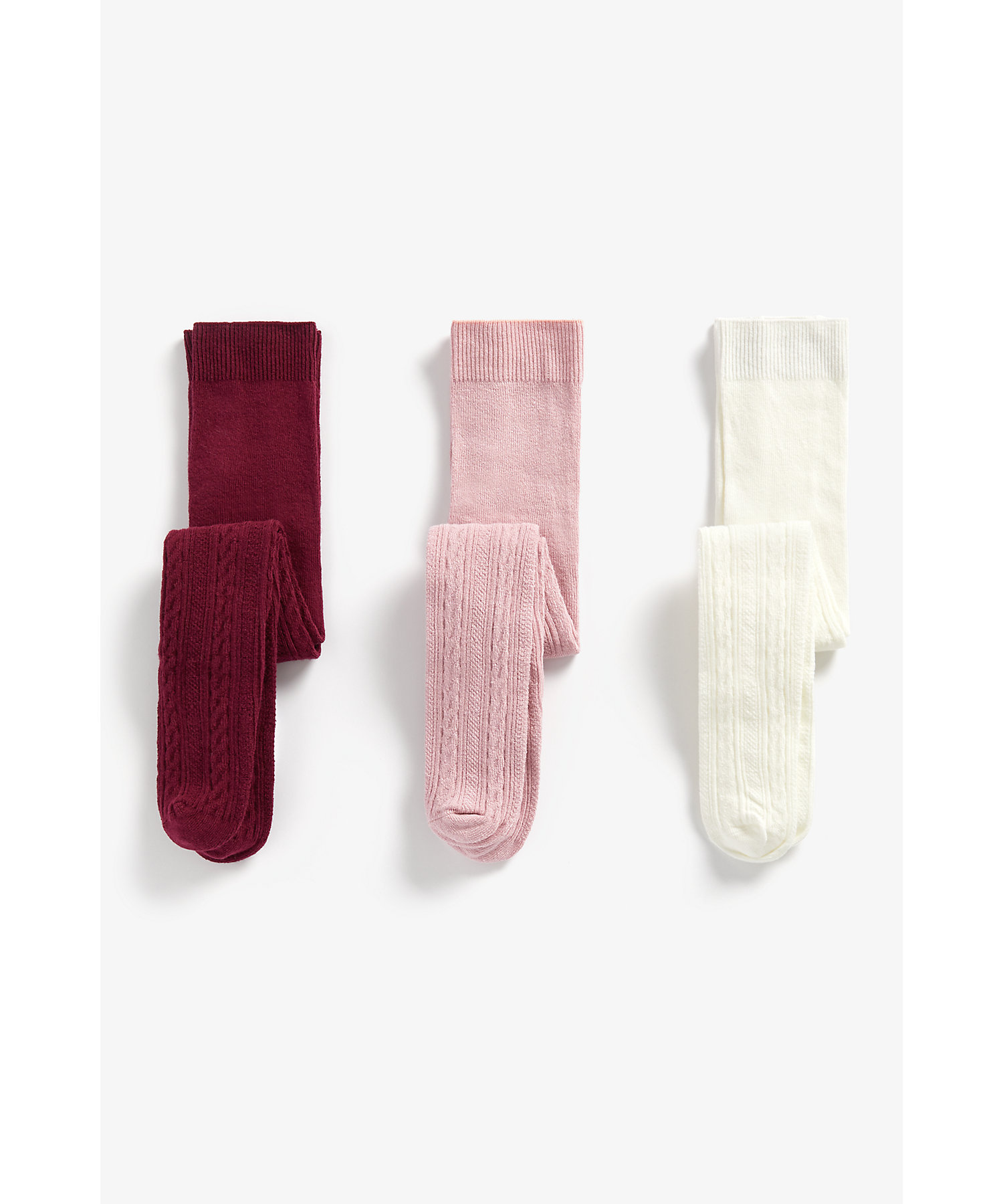 Mothercare | Girls Tights Cable Knit - Pack Of 3 - Multicolor
