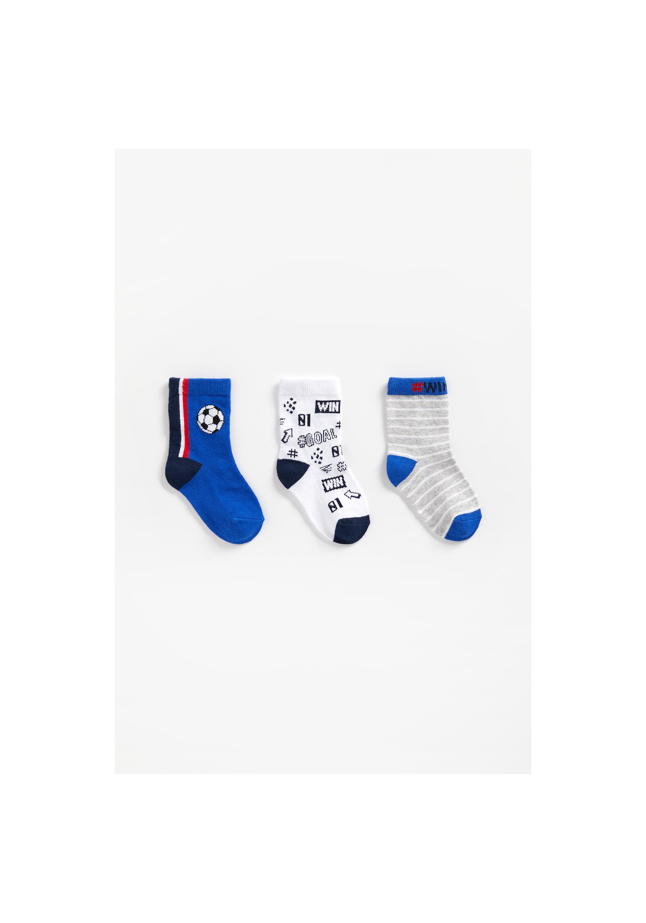 Mothercare   Boys Socks Football Design - Pack Of 3 - Blue