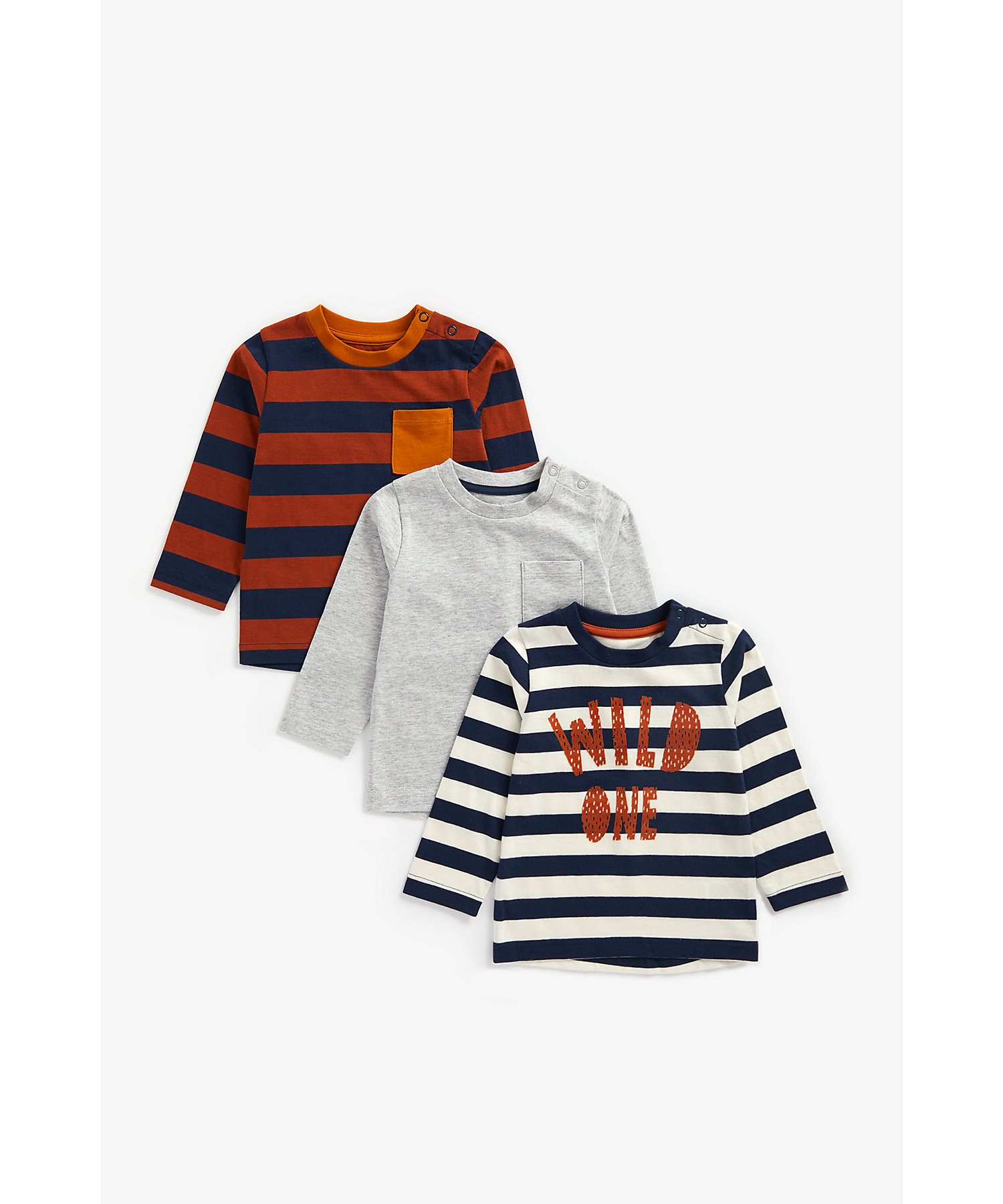Mothercare | Boys Full Sleeves T-Shirt Textured Print - Pack Of 3 - Multicolor
