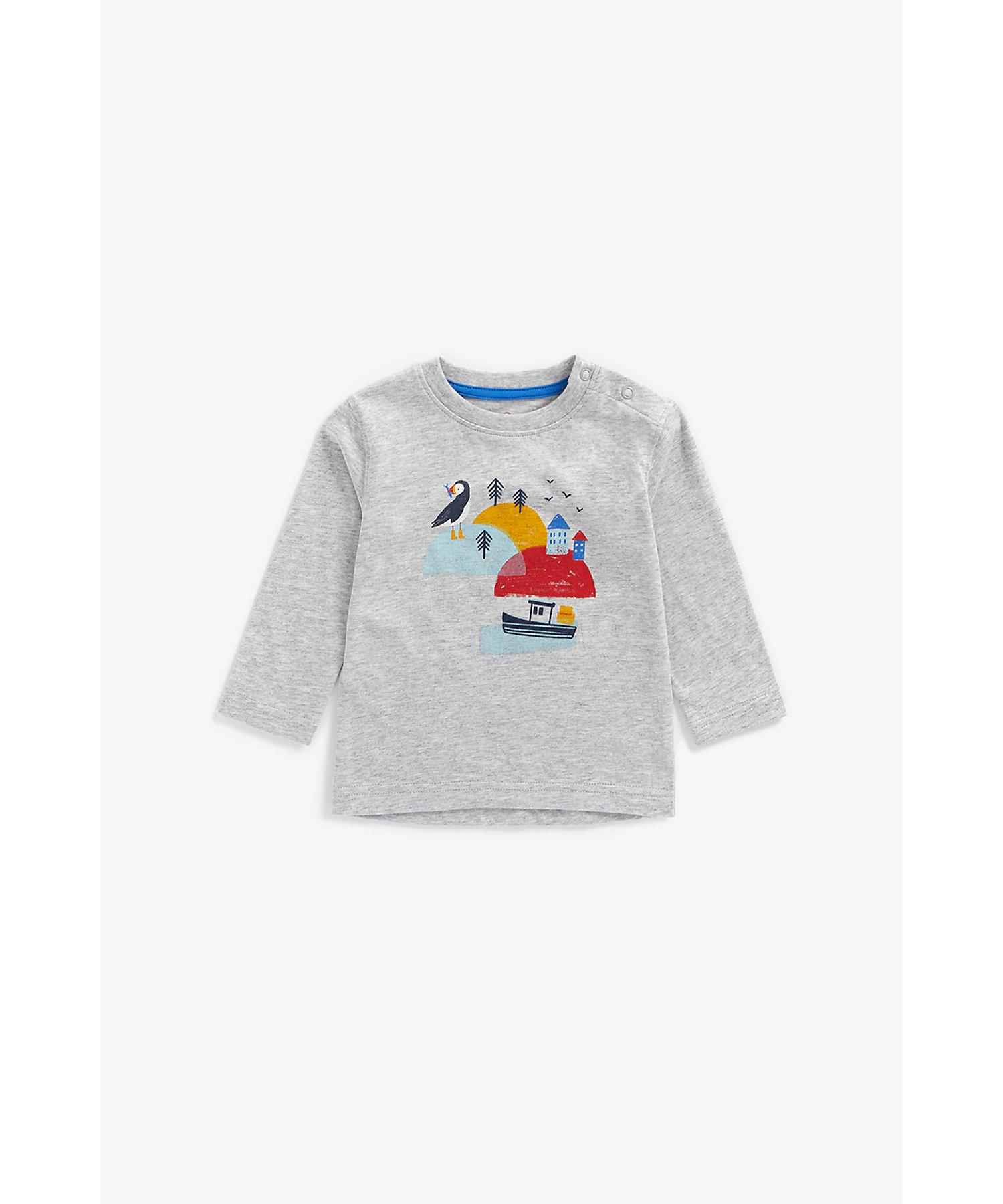 Mothercare | Boys Full Sleeves T-Shirt Bird Print - Grey