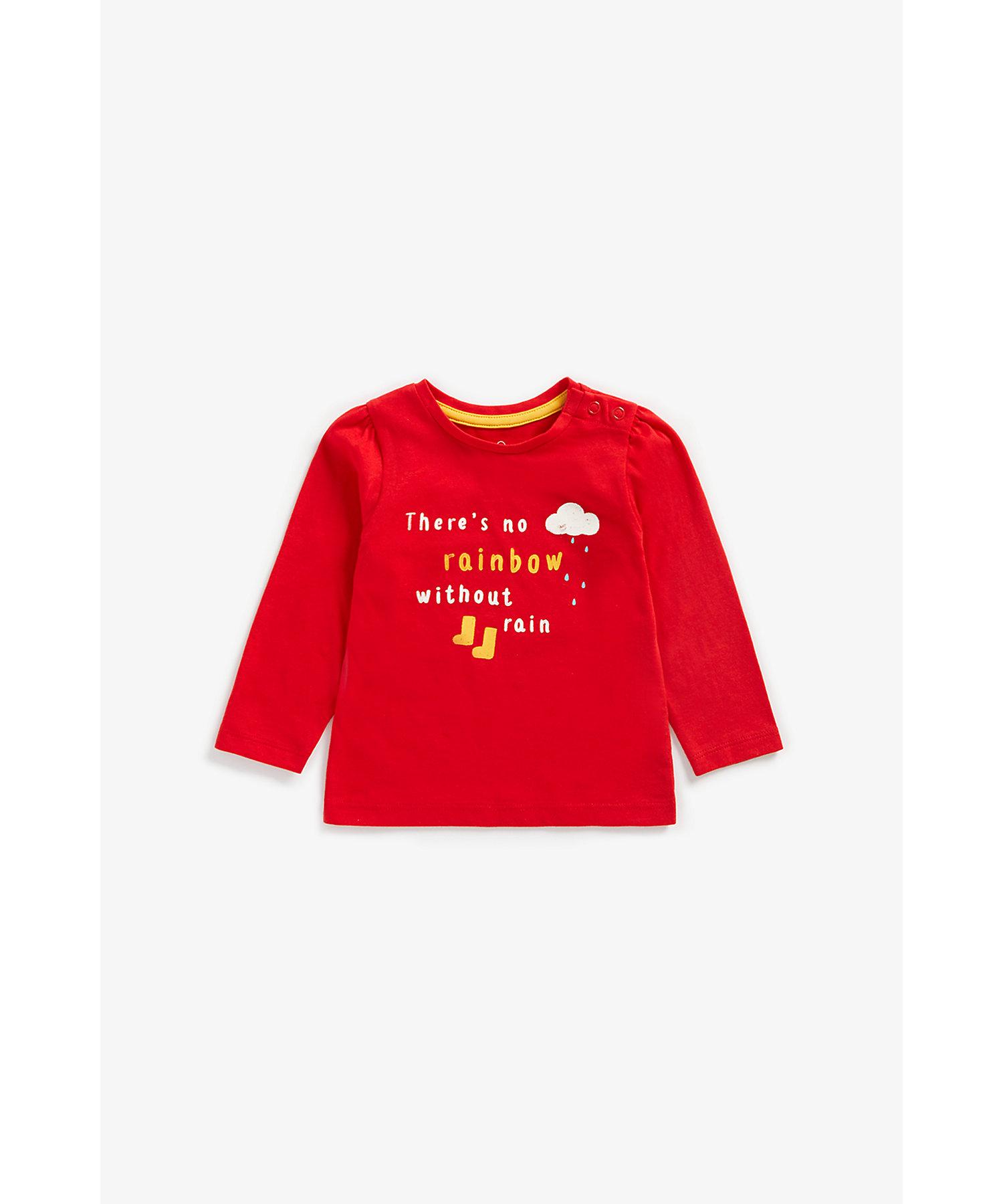 Mothercare | Girls Full Sleeves T-Shirt Slogan Print - Red