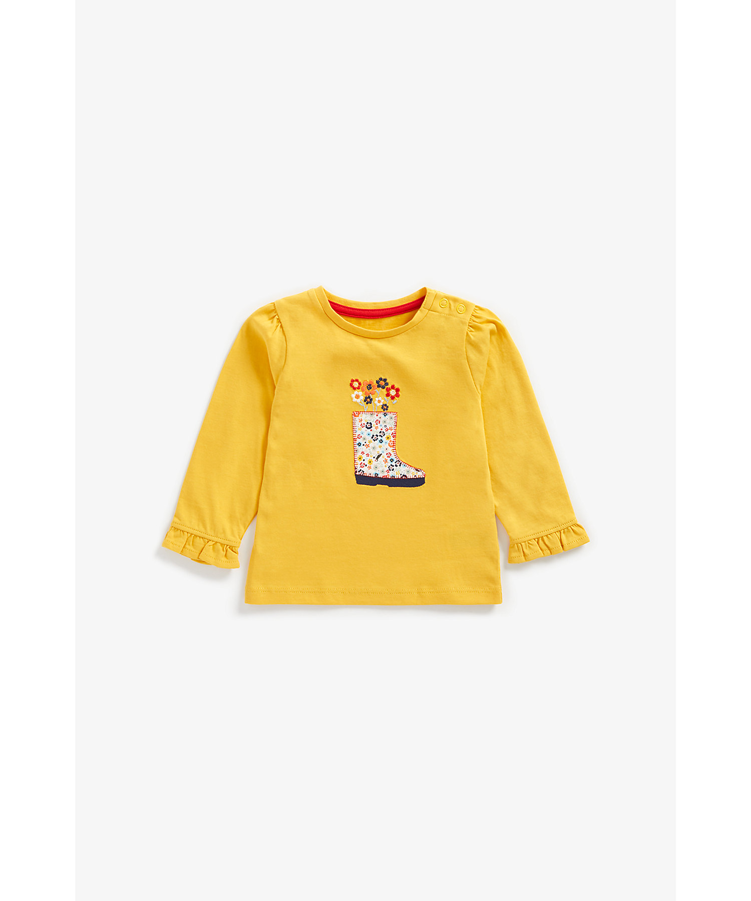 Mothercare | Girls Full Sleeves T-Shirt Floral Embroidery And Boot Patchwork - Mustard