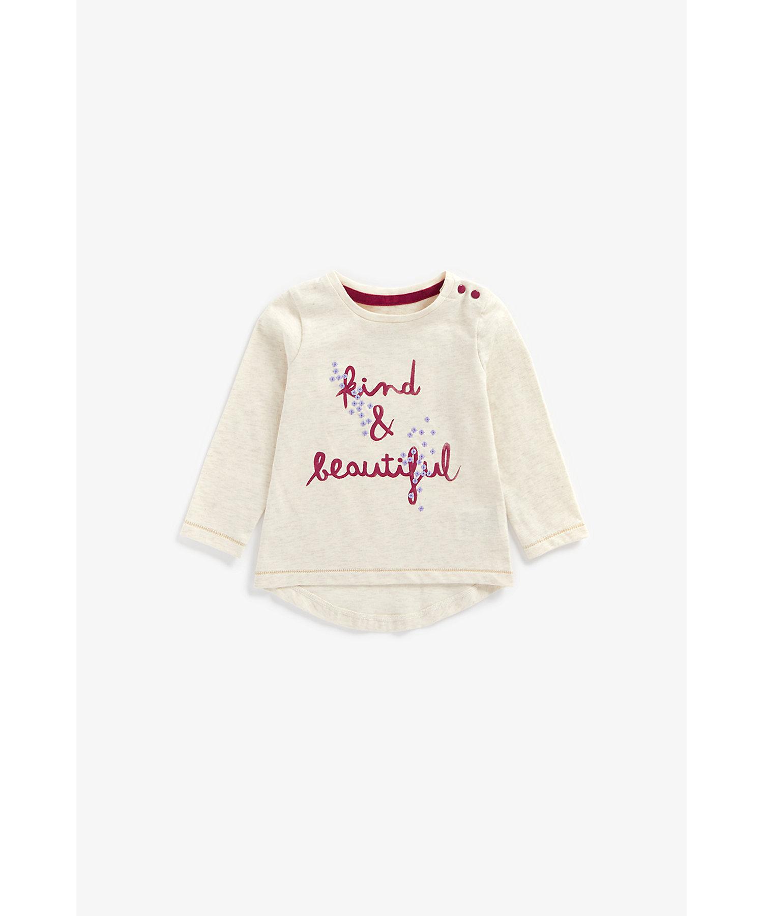 Mothercare   Girls Full Sleeves T-Shirt Slogan Print - Beige