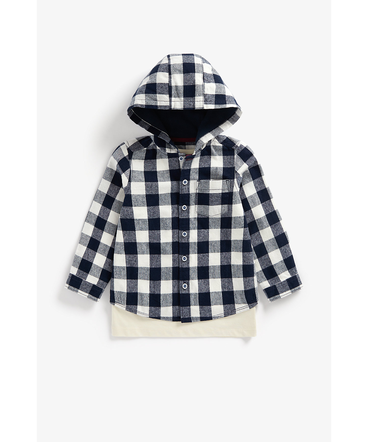 Mothercare | Boys Full Sleeves Checked Hooded Shirt And T-Shirt Set Text Print - Navy