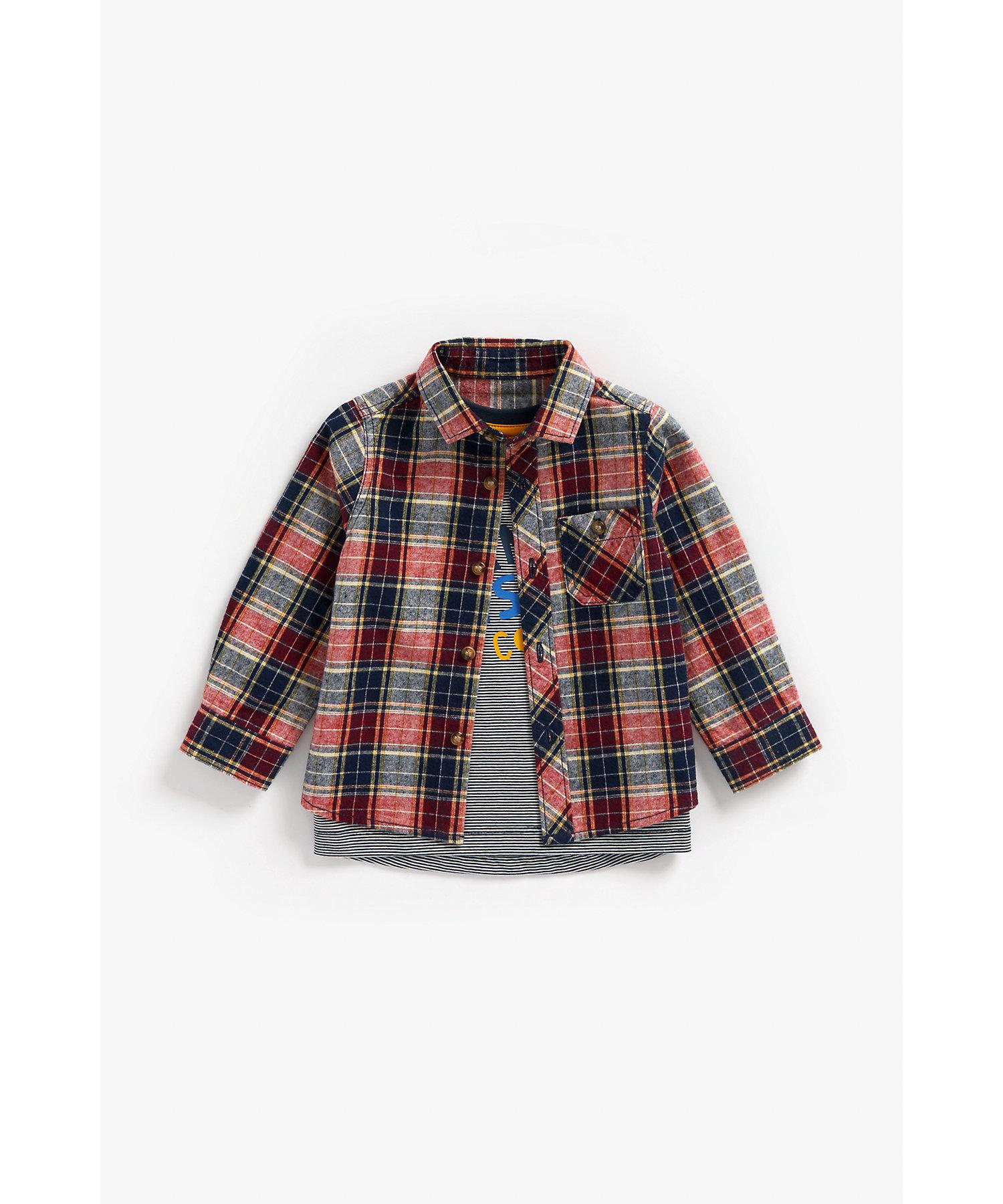 Mothercare | Boys Full Sleeves Check Shirt And Tee Set Slogan Print - Multicolor