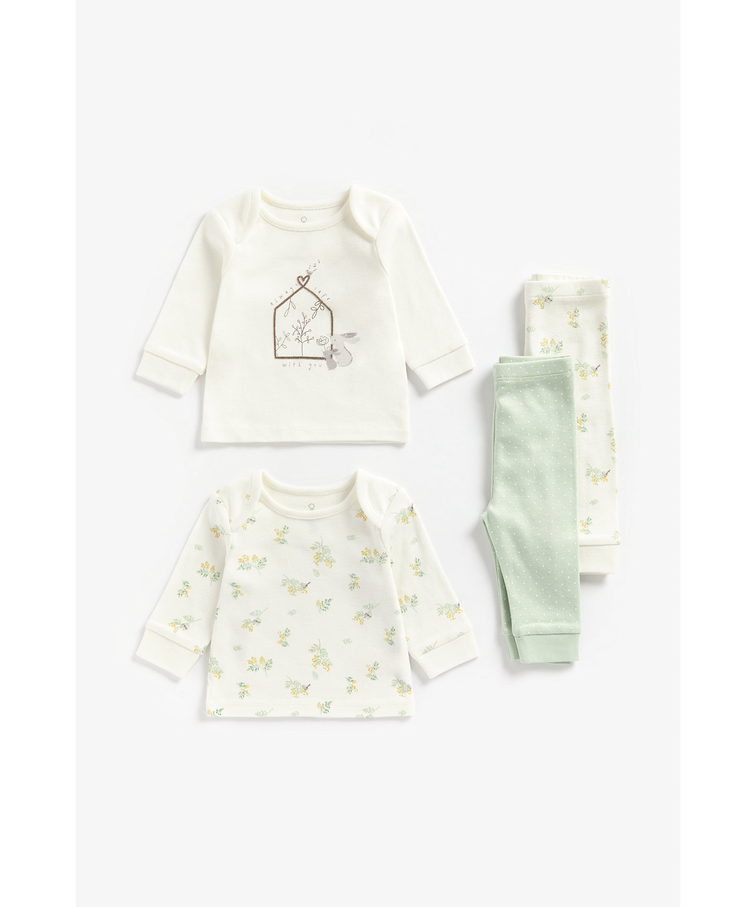Mothercare | Girls Full Sleeves Pyjama Set Bunny And Floral Print - Pack Of 2 - Multicolor