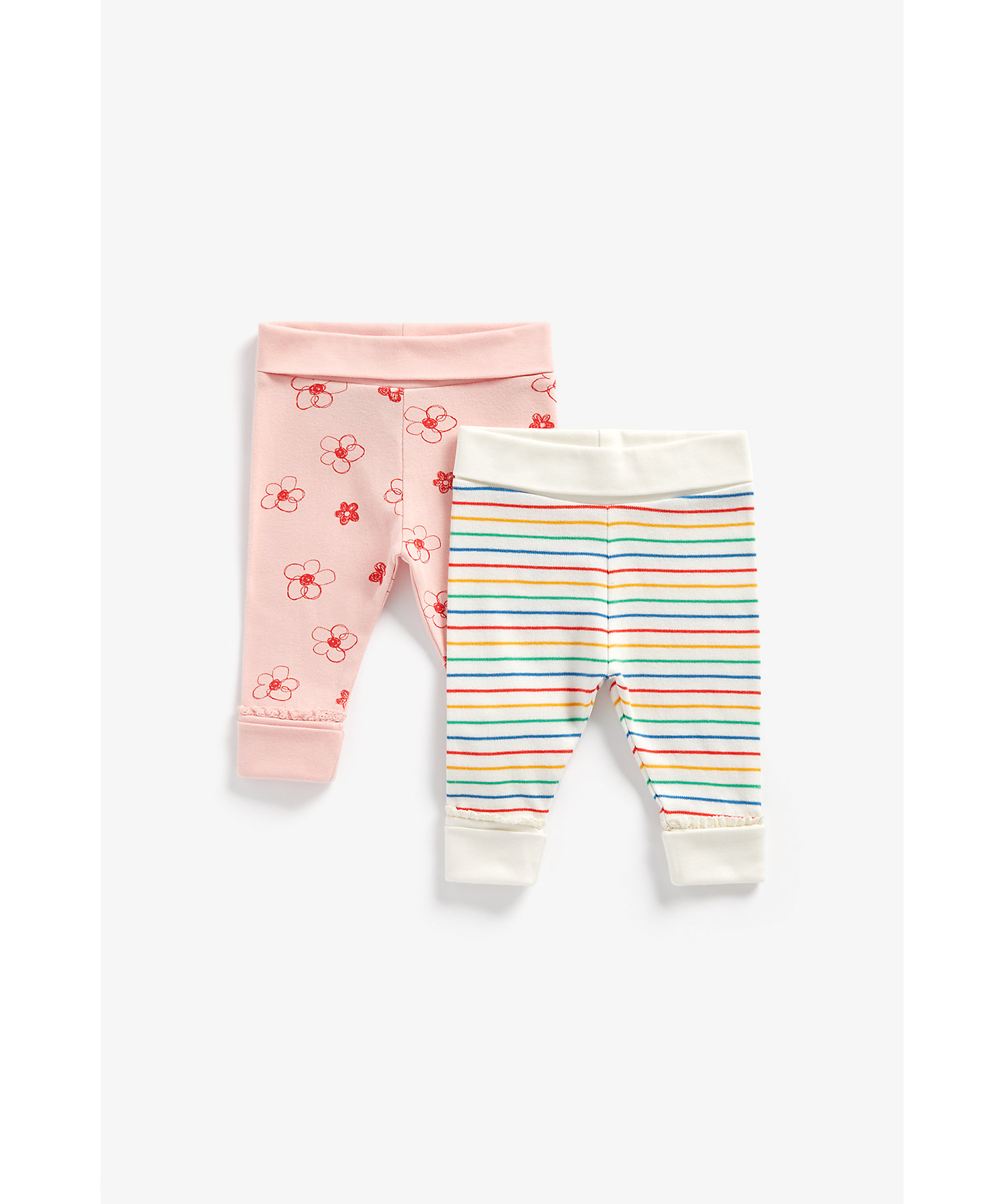 Mothercare | Girls Joggers Printed And Striped - Pack Of 2 - Multicolor