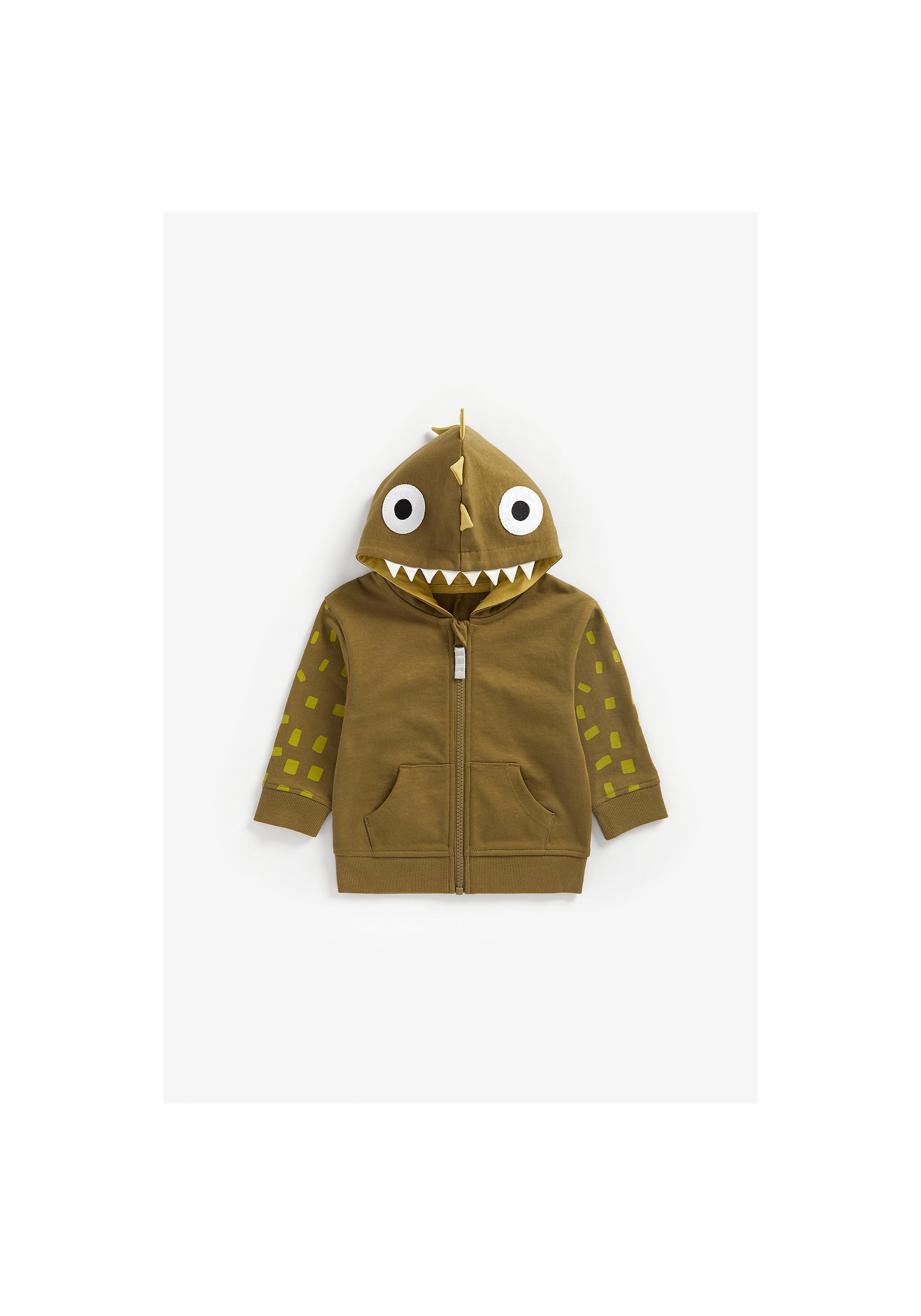 Mothercare   Boys Full Sleeves Hooded Sweatshirt 3D Dino Spikes - Khaki