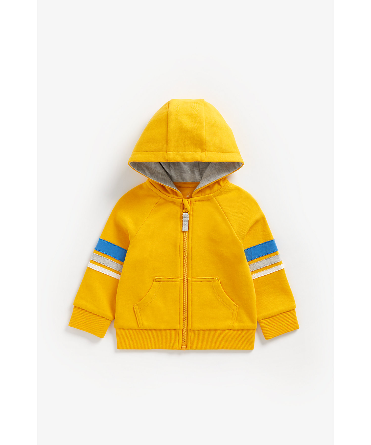 Mothercare   Boys Full Sleeves Hooded Sweatshirt Patch Detail - Yellow