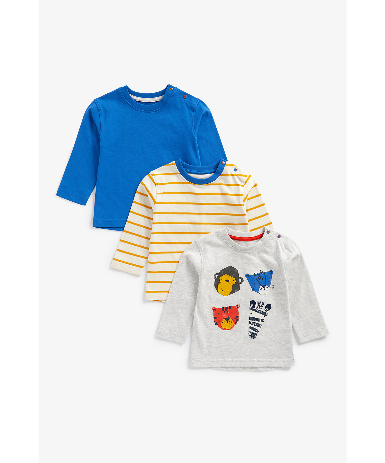 Mothercare   Boys Full Sleeves T-Shirt Striped And Animal Patchwork - Pack Of 3 - Multicolor