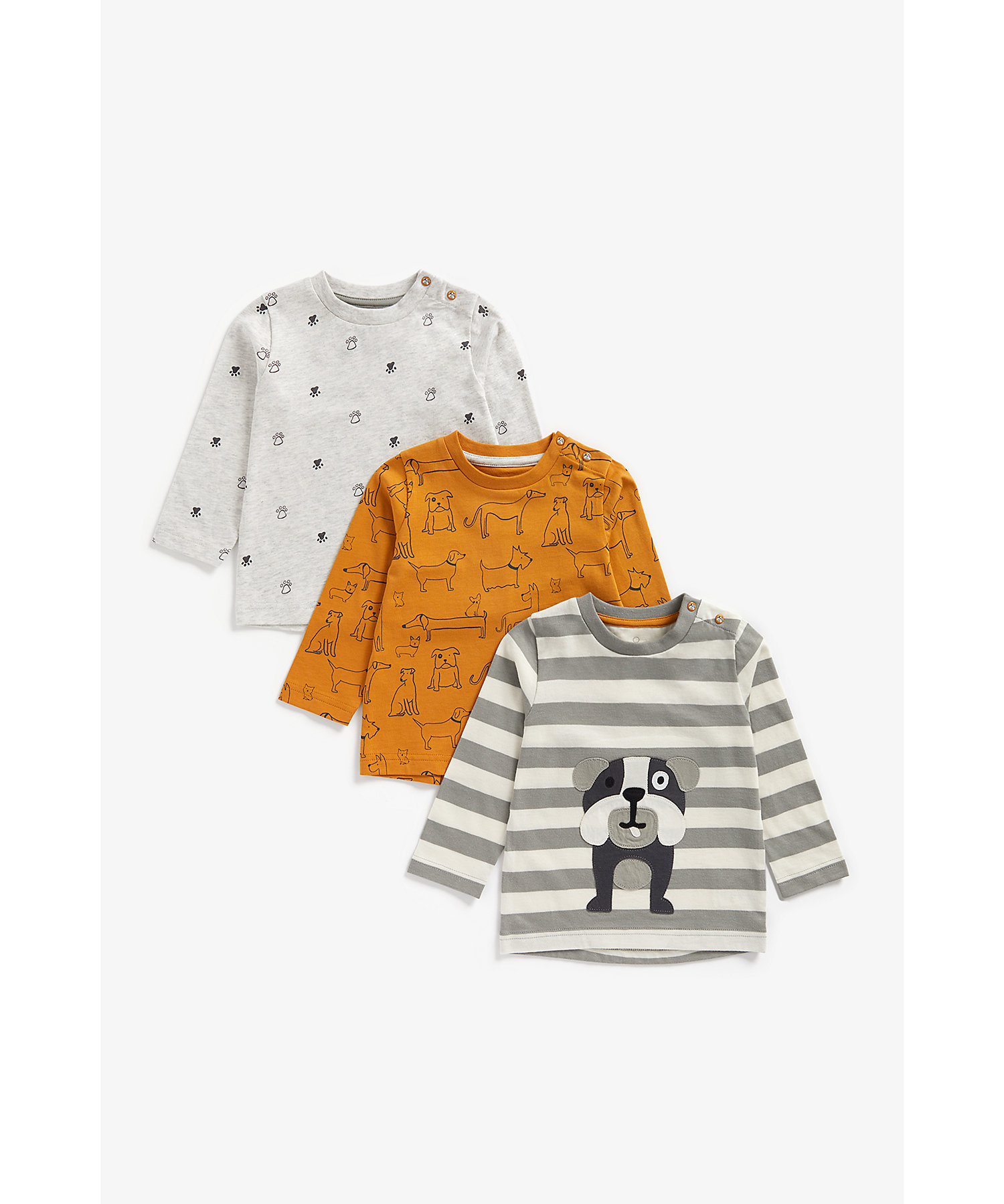 Mothercare | Boys Full Sleeves T-Shirt Striped And Dog Patchwork - Pack Of 3 - Multicolor