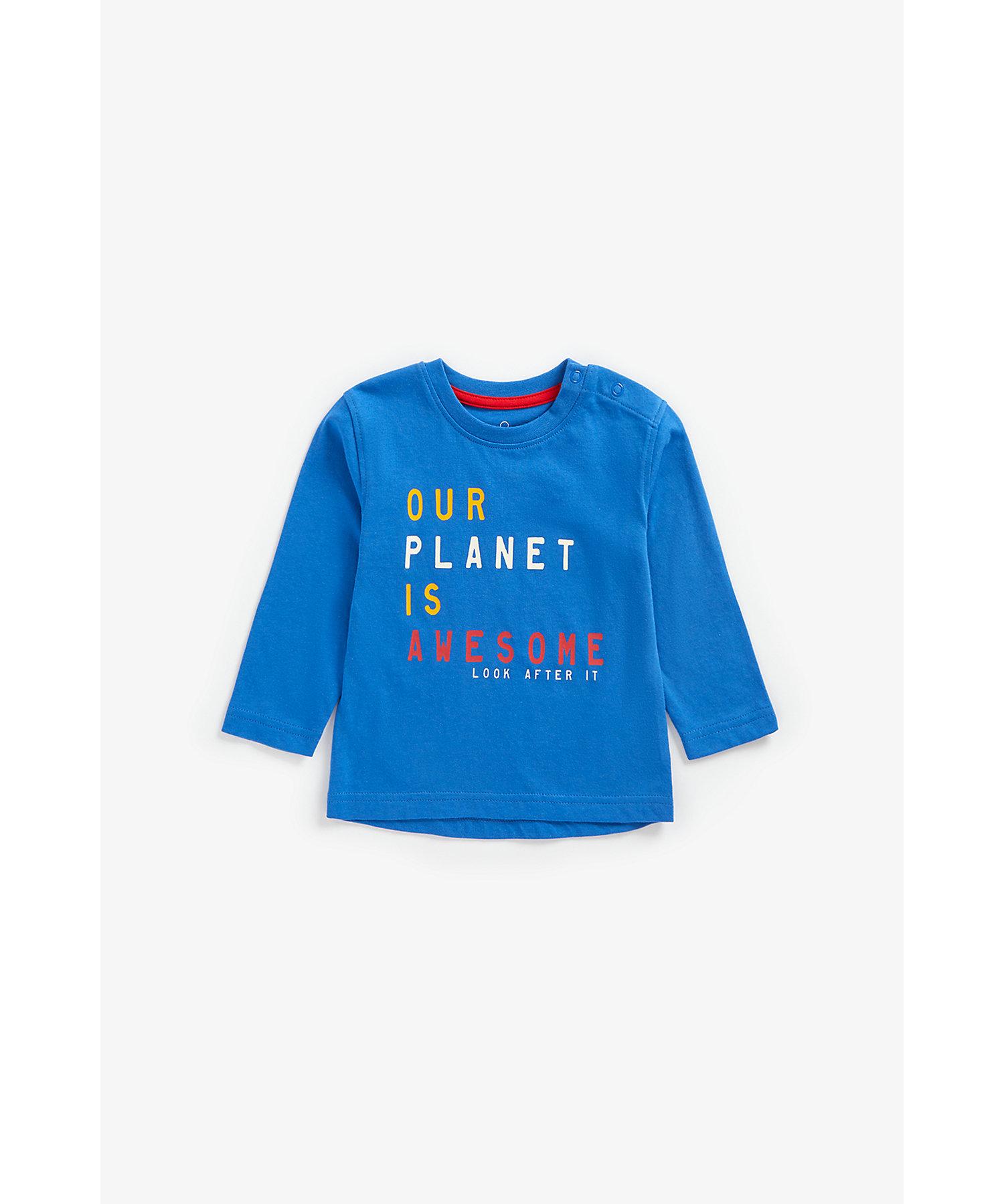 Mothercare | Boys Full Sleeves T-Shirt Slogan Print - Blue