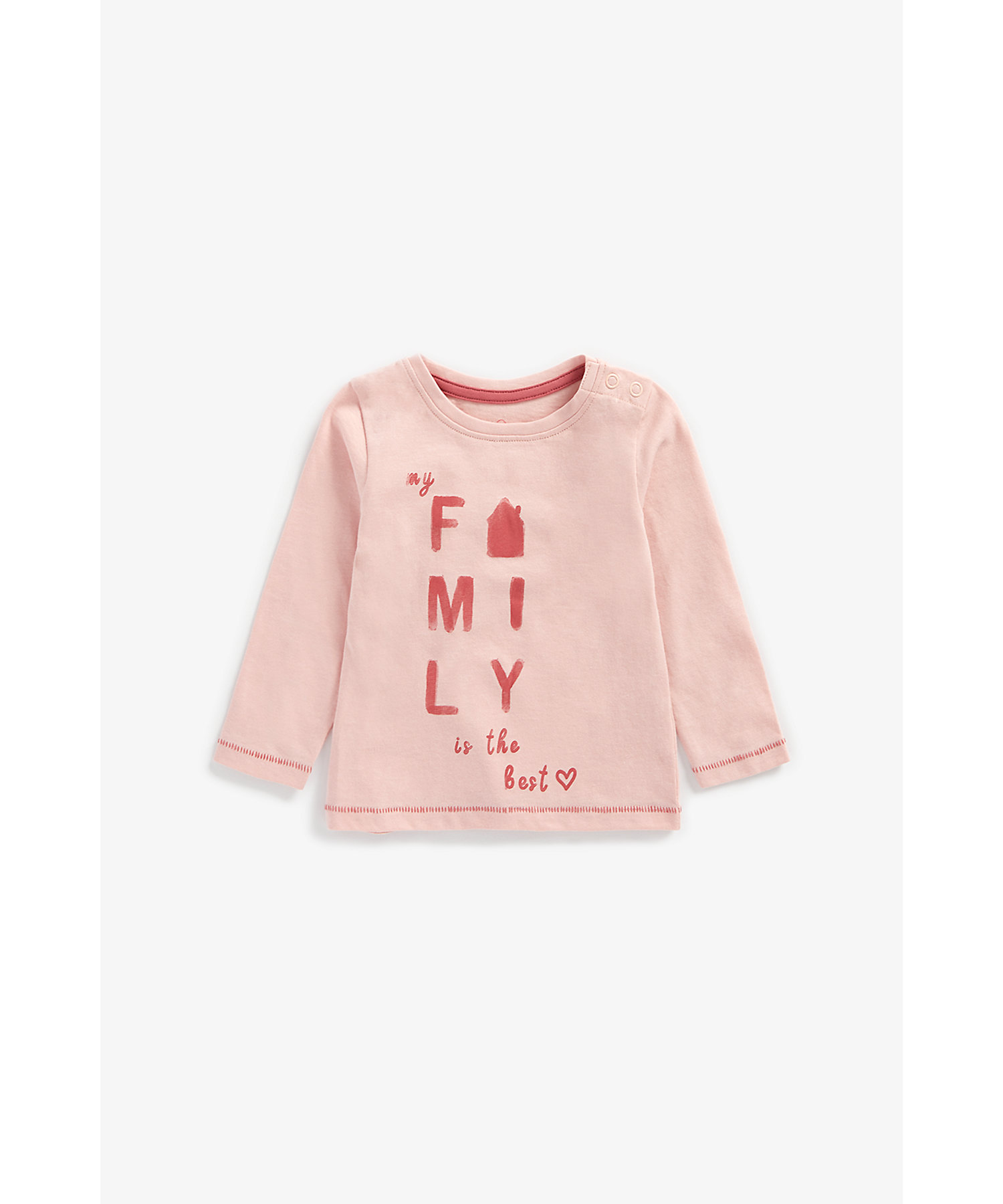 Mothercare   Girls Full Sleeves T-Shirt Text Print - Pink