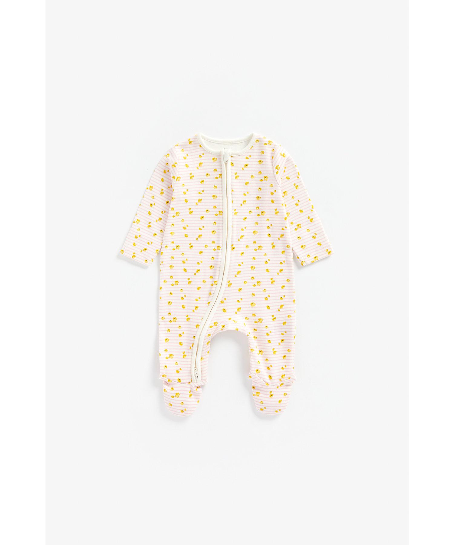 Mothercare   Girls Full Sleeves Sleepsuit Floral Print - Beige
