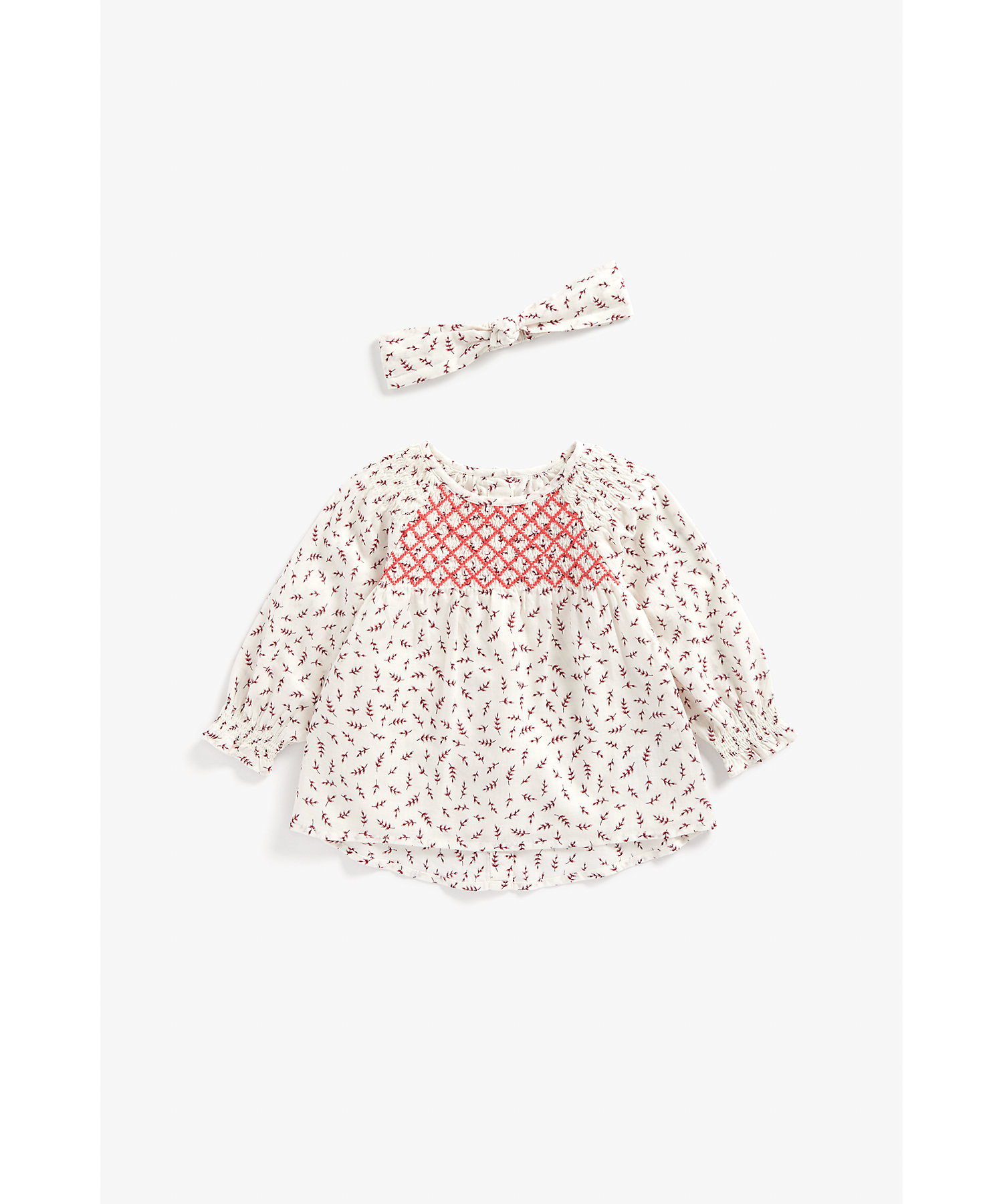 Mothercare | Girls Full Sleeves Top And Headband Set Embroidered - Cream
