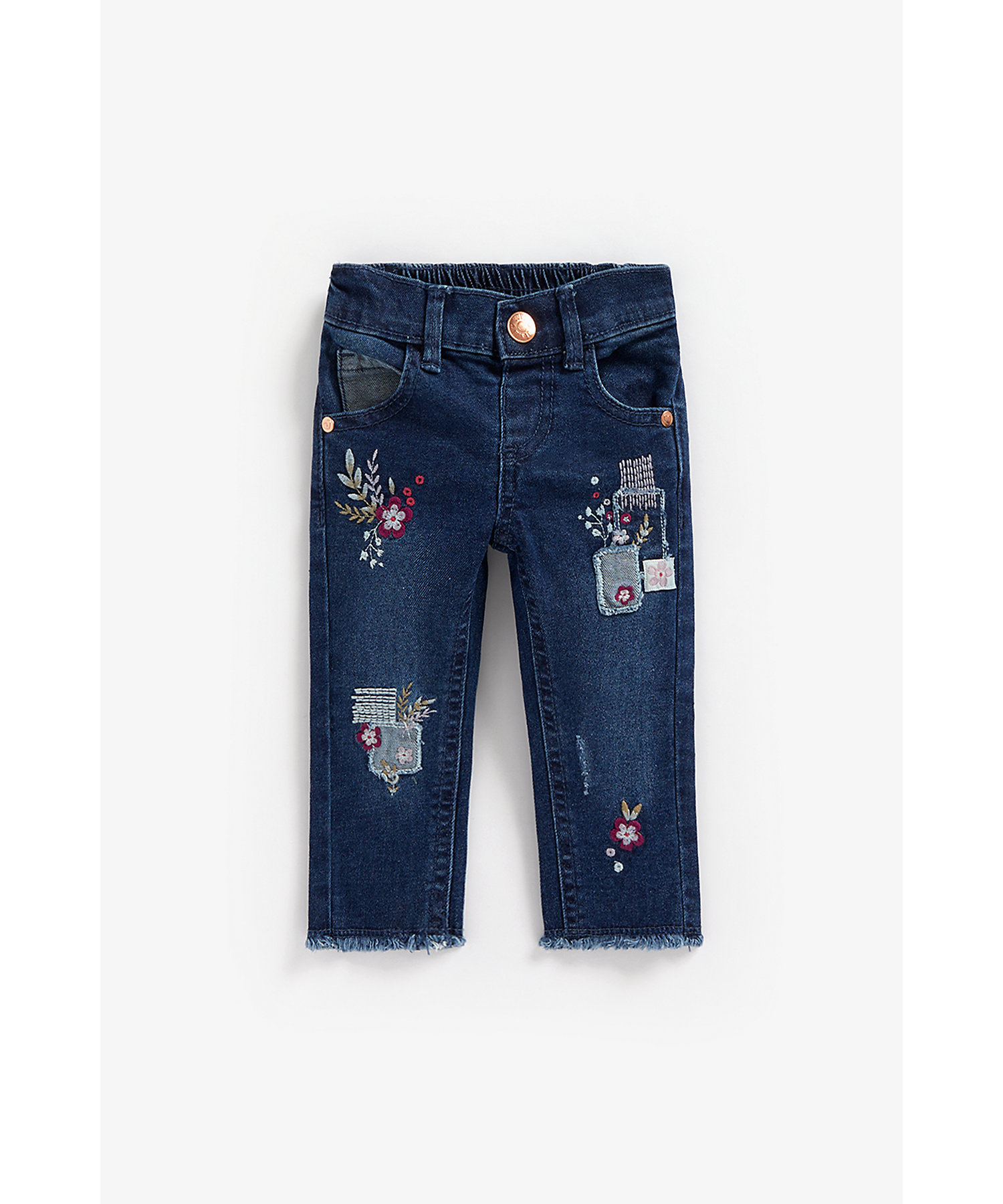 Mothercare | Girls Jeans Floral Embroidery - Blue