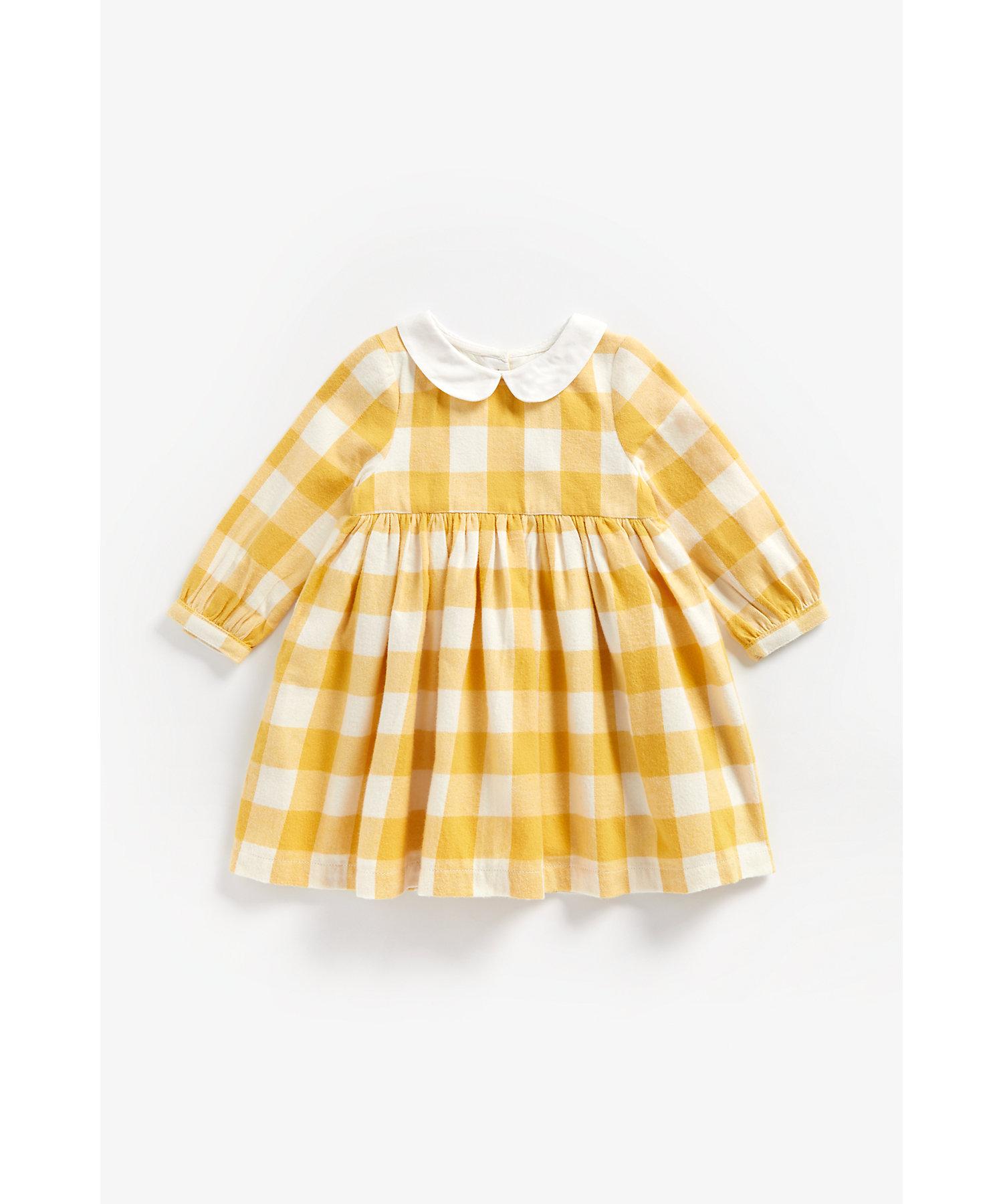 Mothercare | Girls Full Sleeves Collared Dress Checks - Mustard