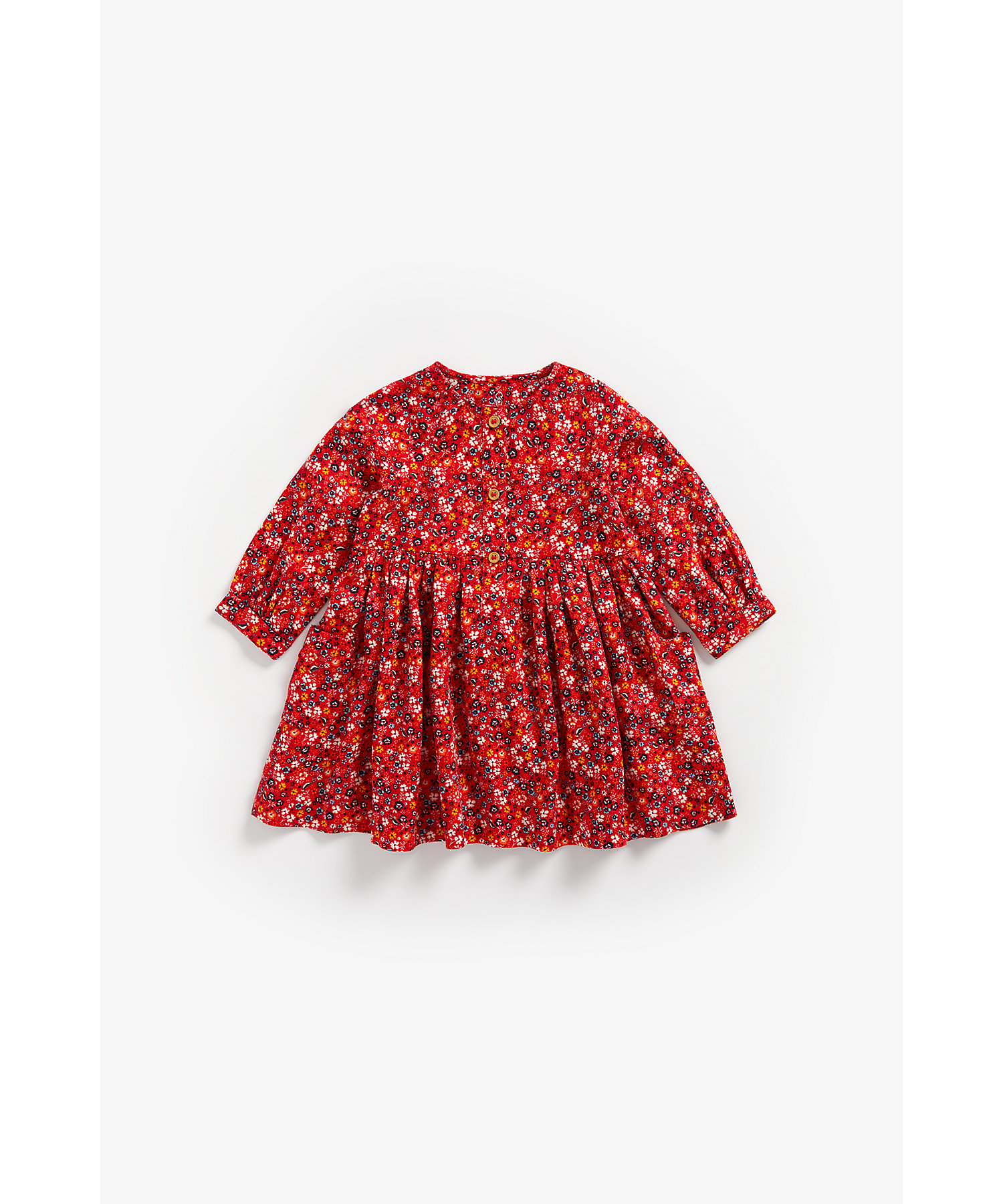 Mothercare | Girls Full Sleeves Dress Floral Print - Red