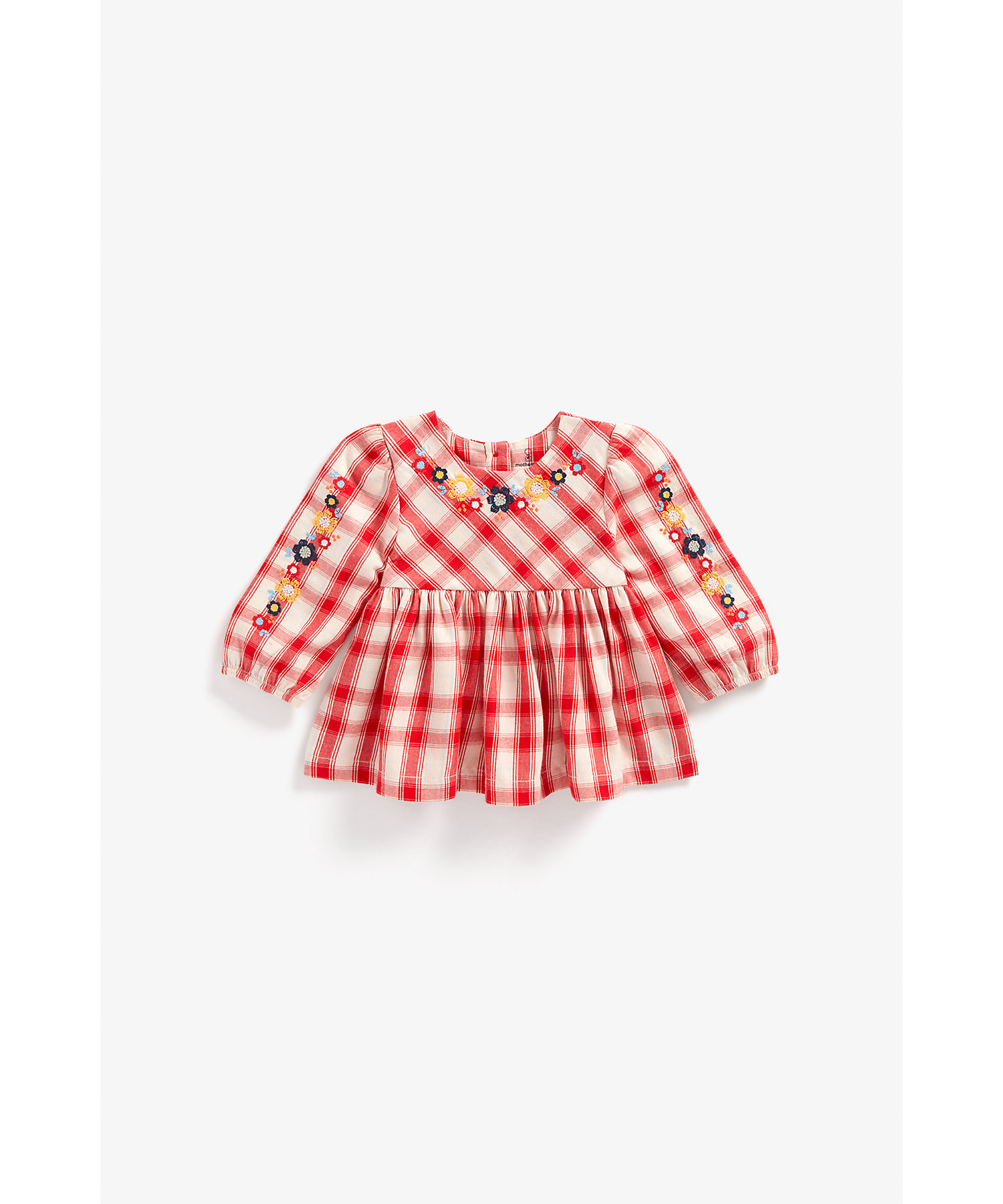 Mothercare   Girls Full Sleeves Check Top Floral Embroidery - Red